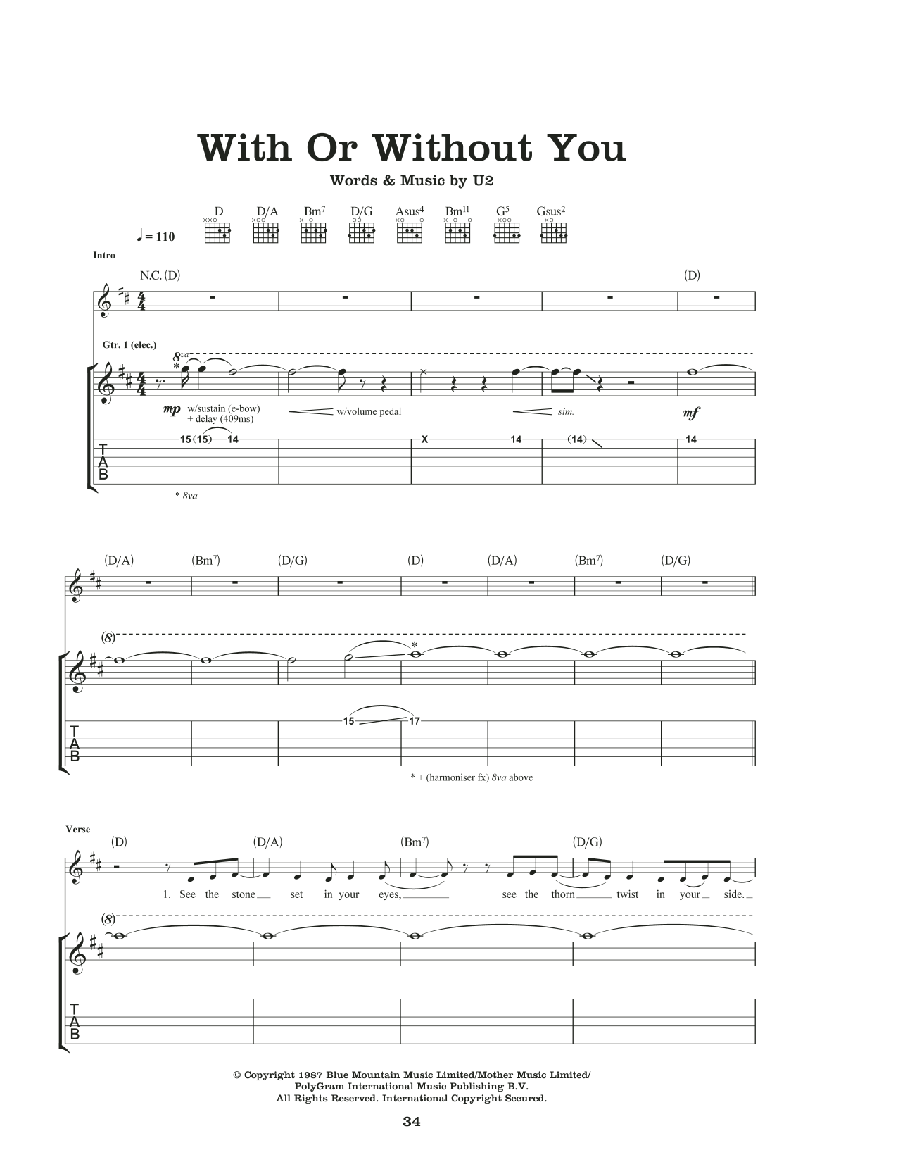 With Or Without You Sheet Music
