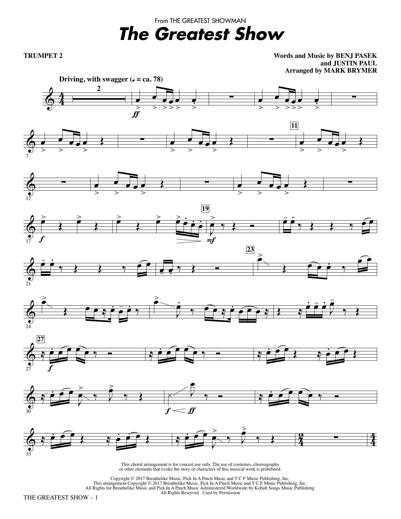 The Greatest Show - Trumpet 2 (Choir Instrumental Pak)