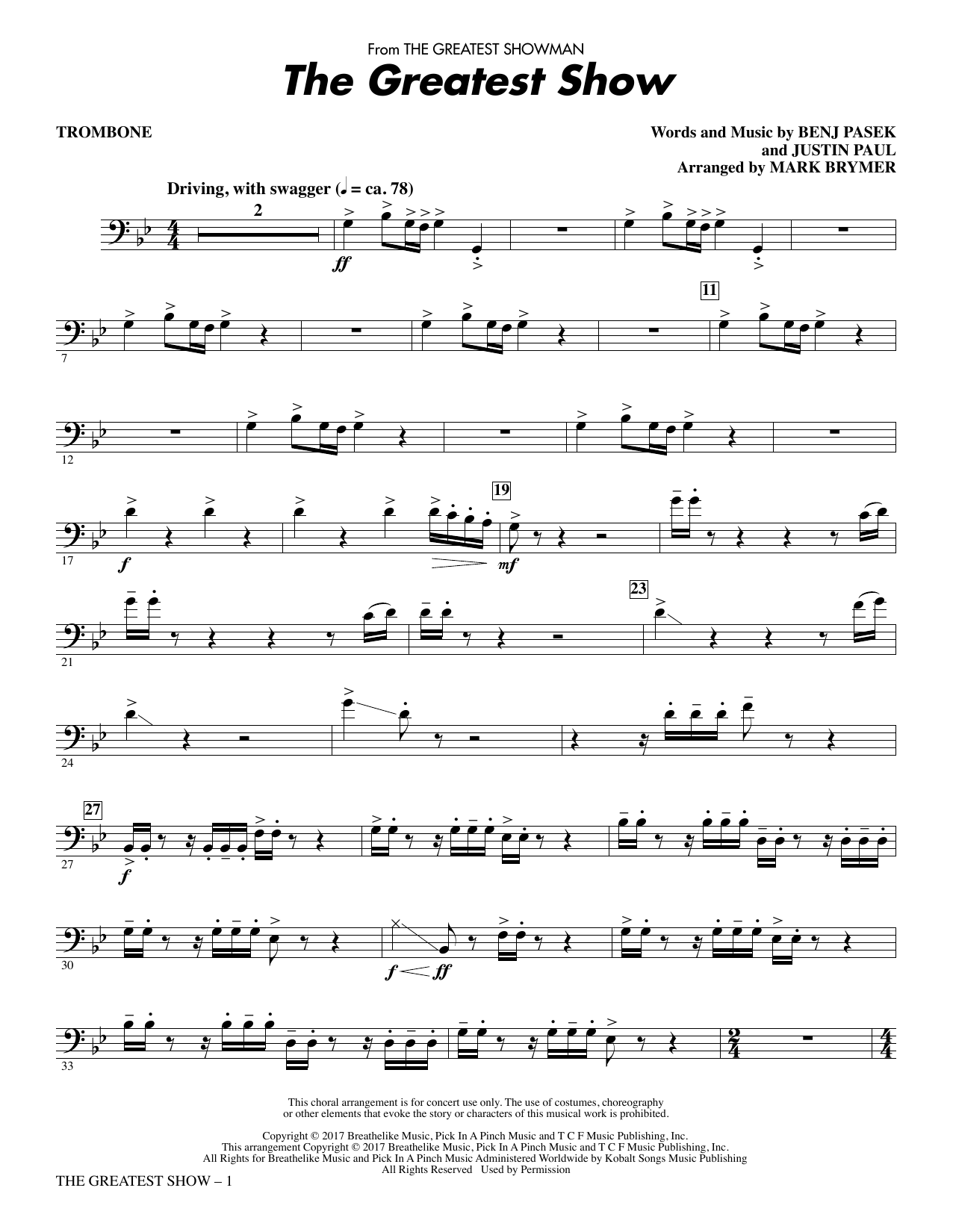 The Greatest Show - Trombone (Choir Instrumental Pak)