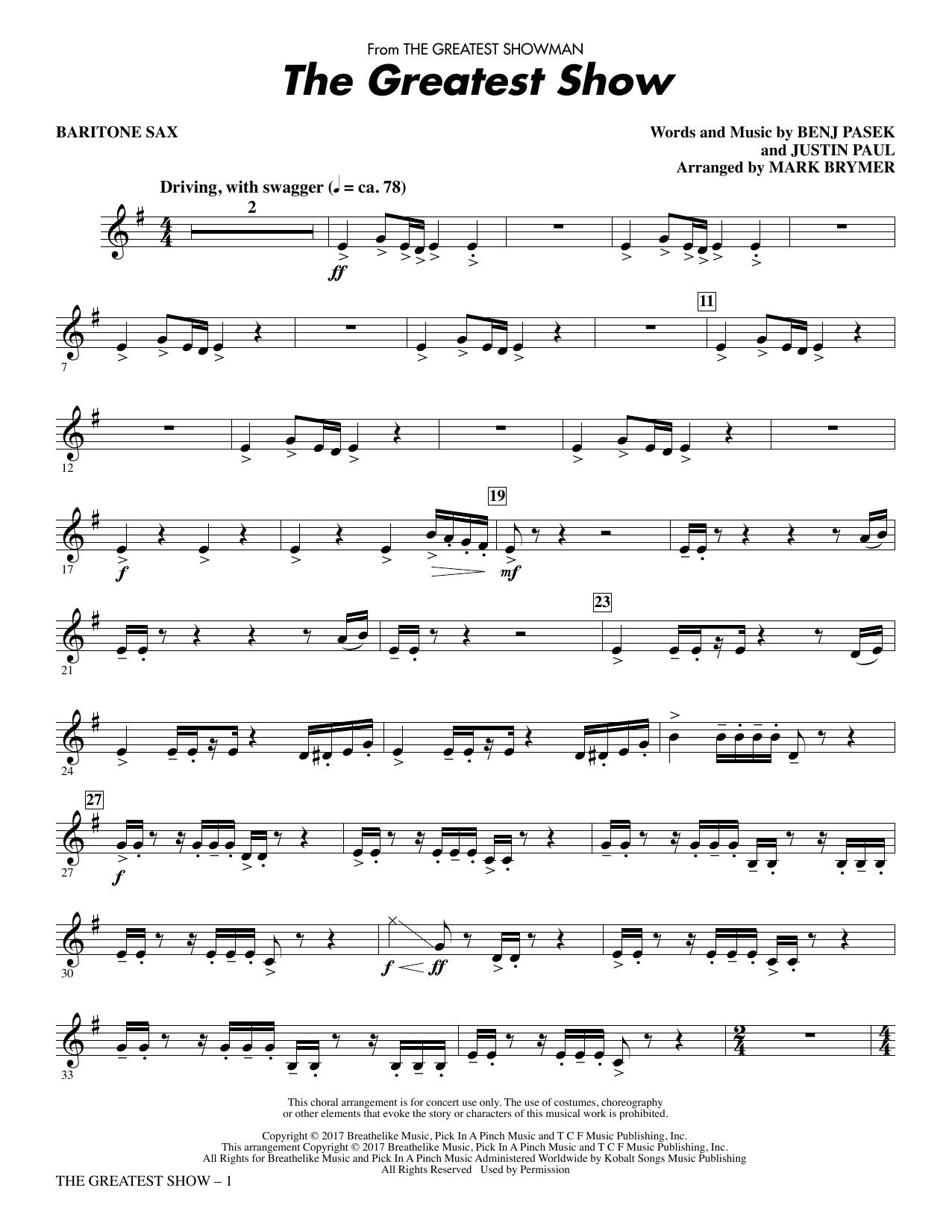 The Greatest Show (arr. Mark Brymer) - Baritone Sax (Choir Instrumental Pak)