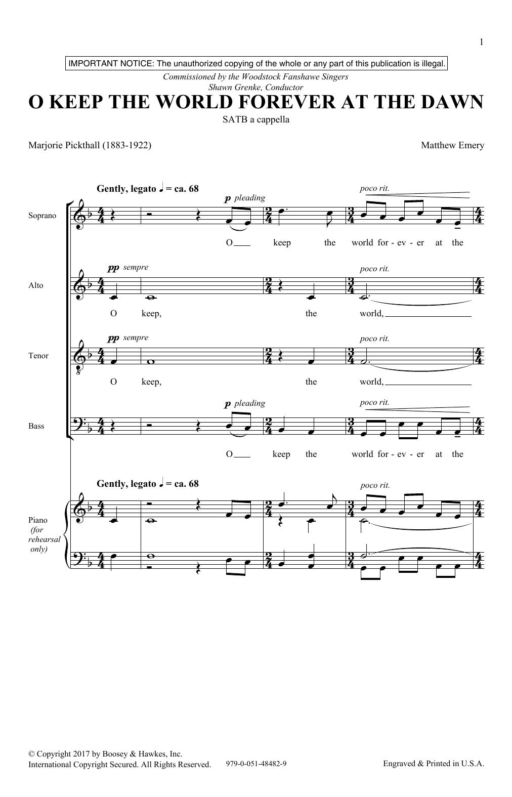 O Keep The World Forever At The Dawn (SATB Choir)