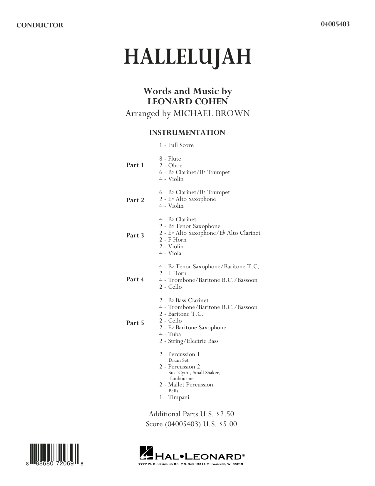 Hallelujah - Conductor Score (Full Score) (Concert Band: Flex-Band)