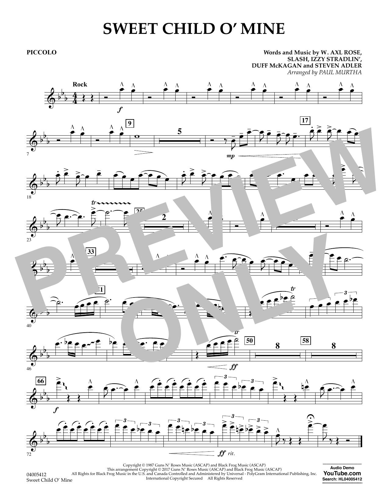 Sweet Child o' Mine - Piccolo (Concert Band)