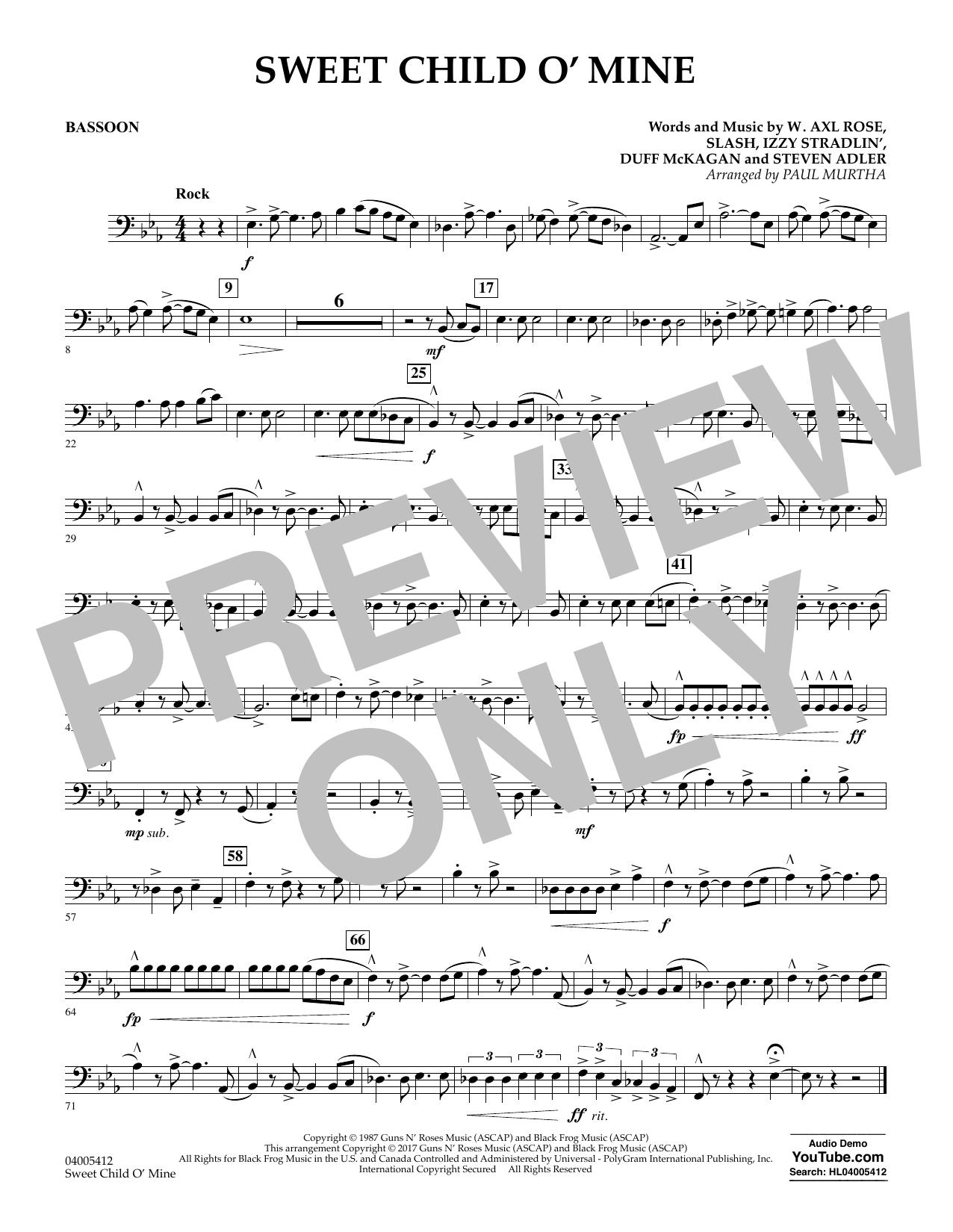 Sweet Child o' Mine - Bassoon (Concert Band)