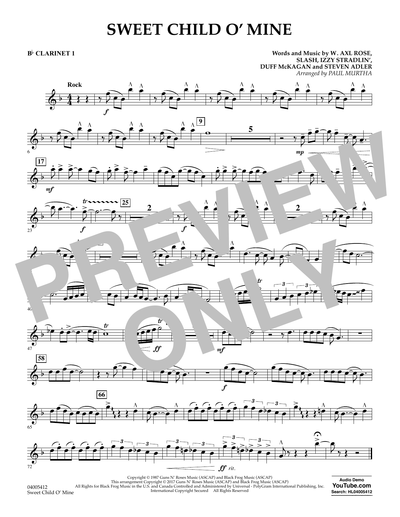 Sweet Child o' Mine - Bb Clarinet 1 (Concert Band)