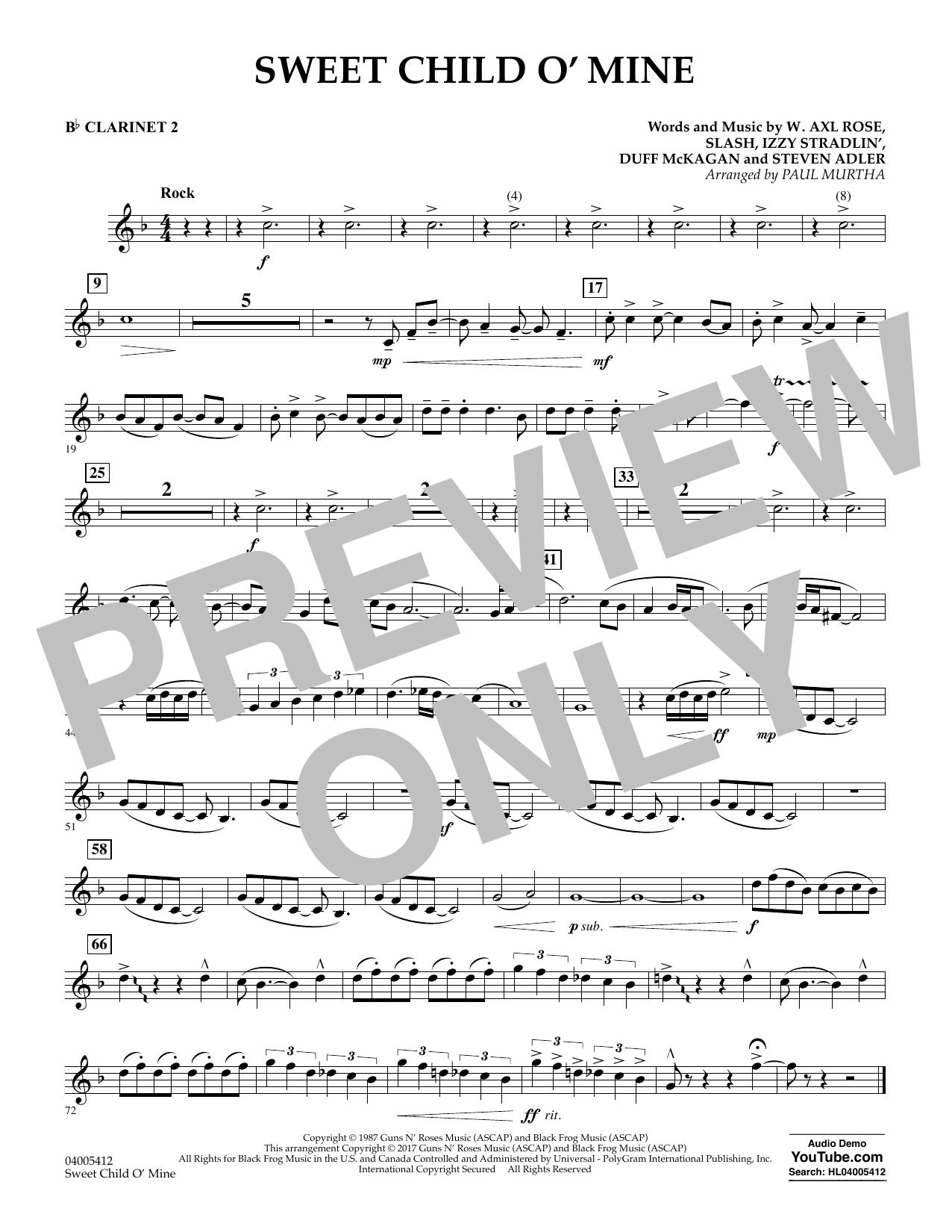Sweet Child o' Mine - Bb Clarinet 2 (Concert Band)