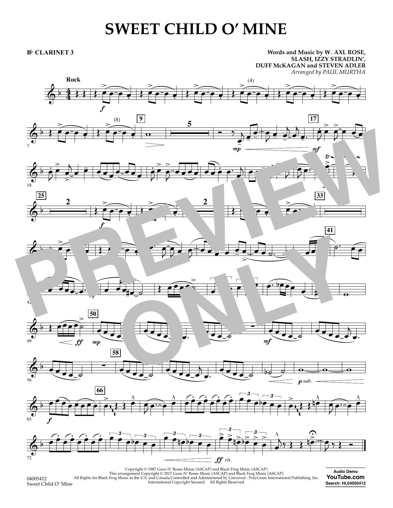 Sweet Child o' Mine - Bb Clarinet 3 (Concert Band)