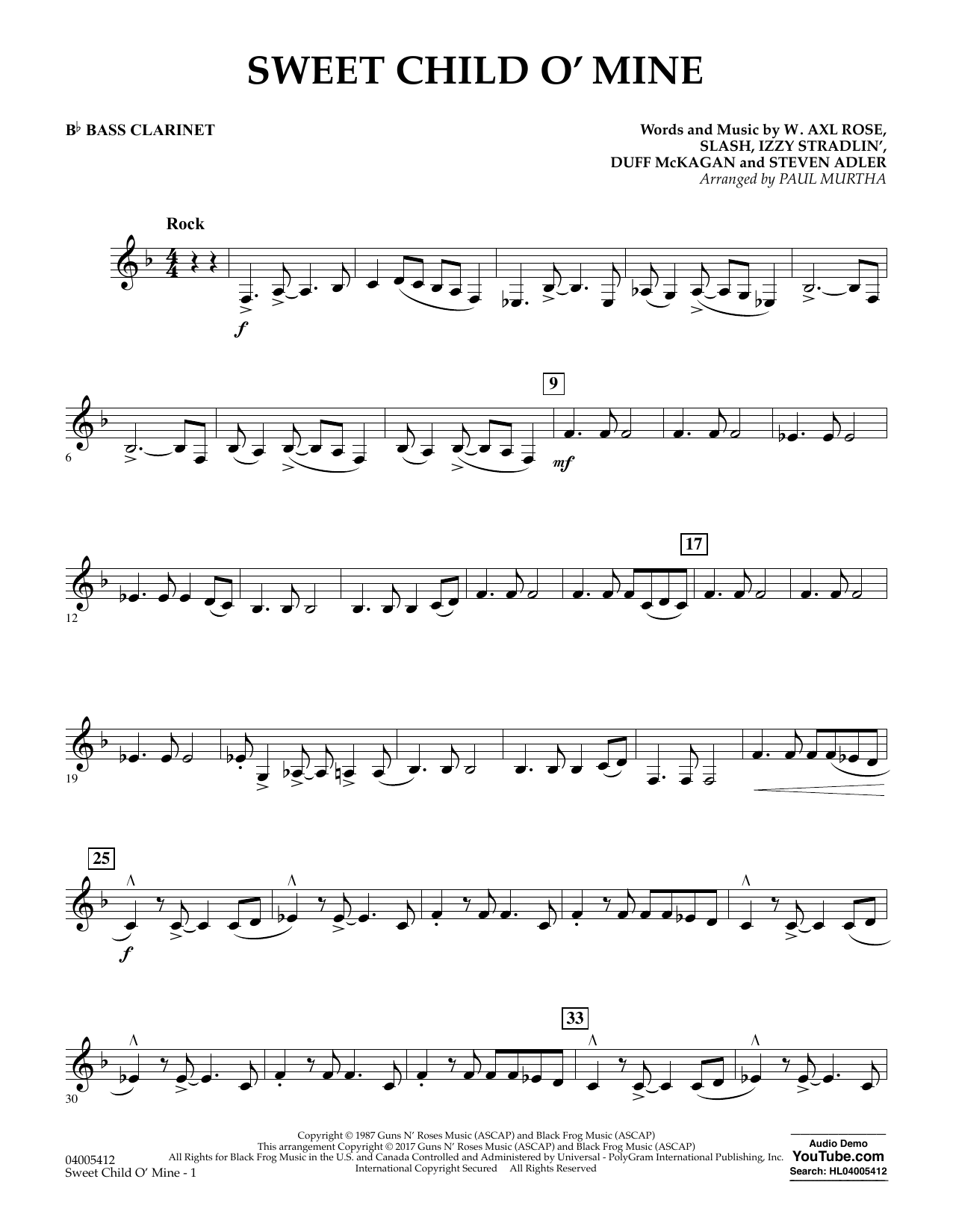 Sweet Child o' Mine - Bb Bass Clarinet (Concert Band)