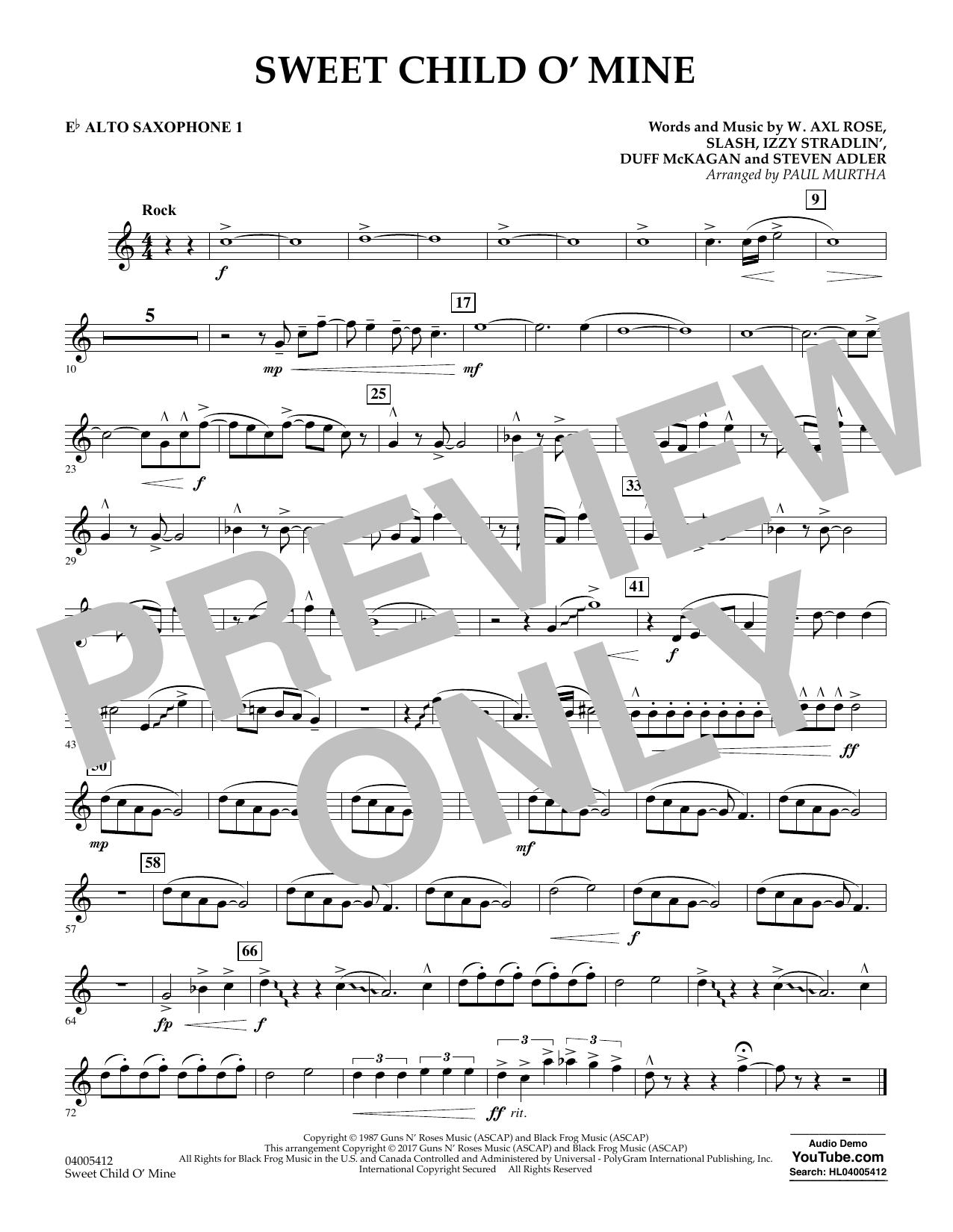 Sweet Child o' Mine - Eb Alto Saxophone 1 (Concert Band)