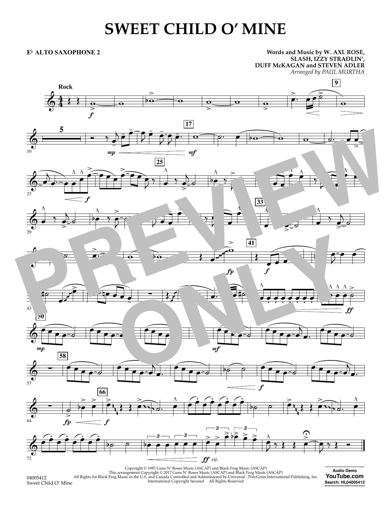 Sweet Child o' Mine - Eb Alto Saxophone 2 (Concert Band)