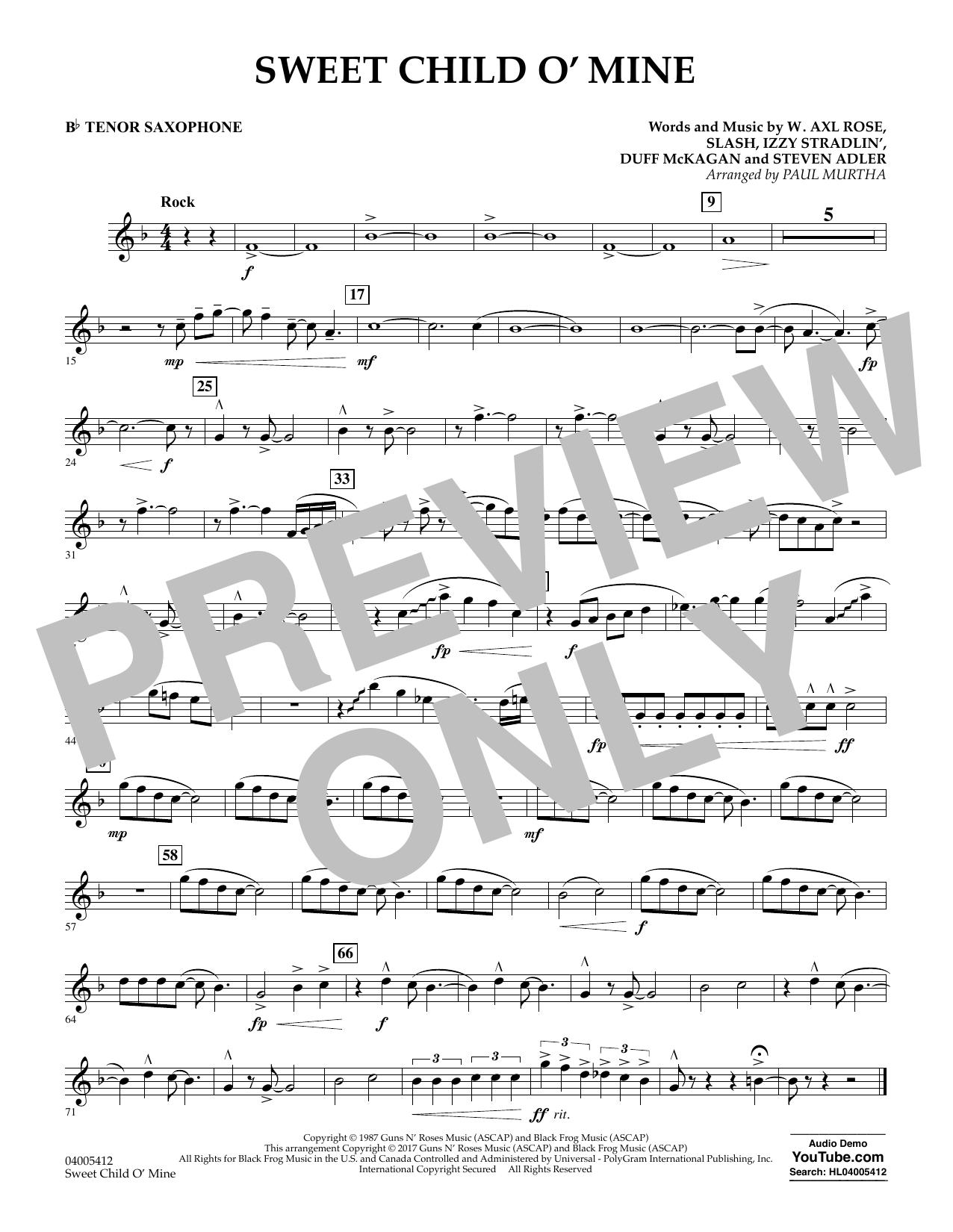 Sweet Child o' Mine - Bb Tenor Saxophone (Concert Band)