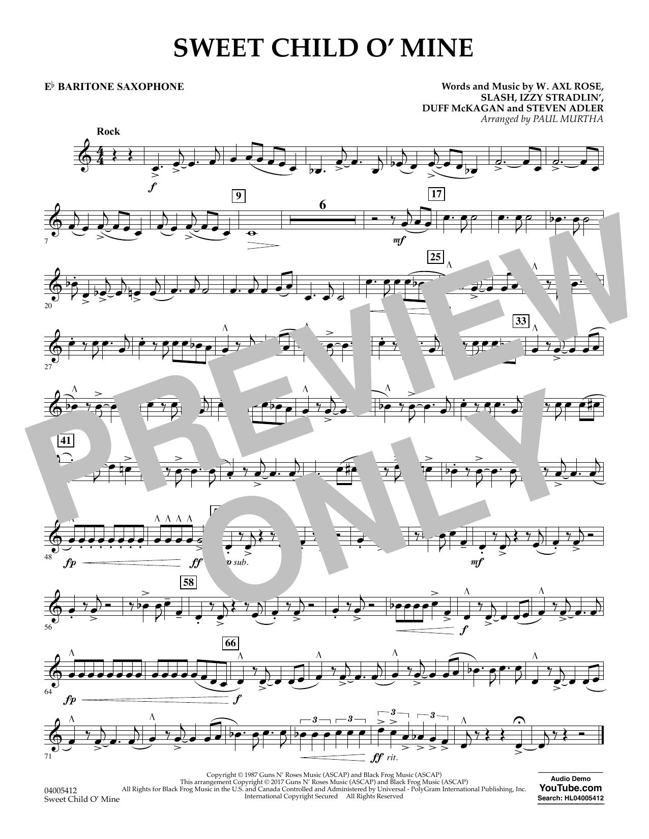 Sweet Child o' Mine - Eb Baritone Saxophone (Concert Band)