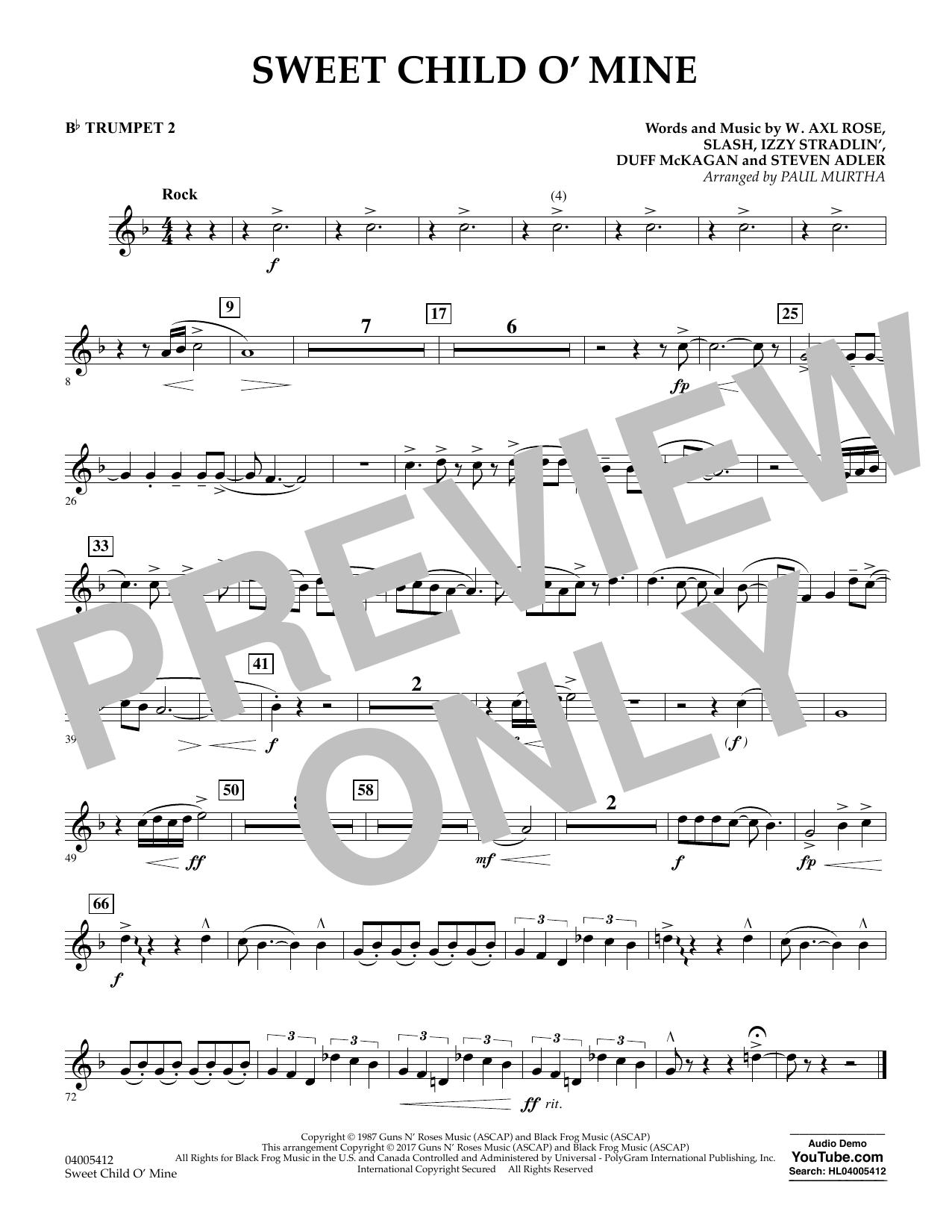 Sweet Child o' Mine - Bb Trumpet 2 (Concert Band)