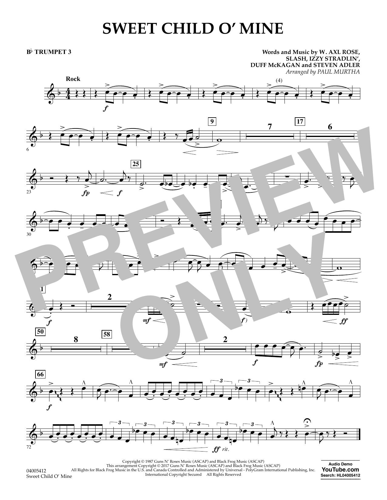 Sweet Child o' Mine - Bb Trumpet 3 (Concert Band)