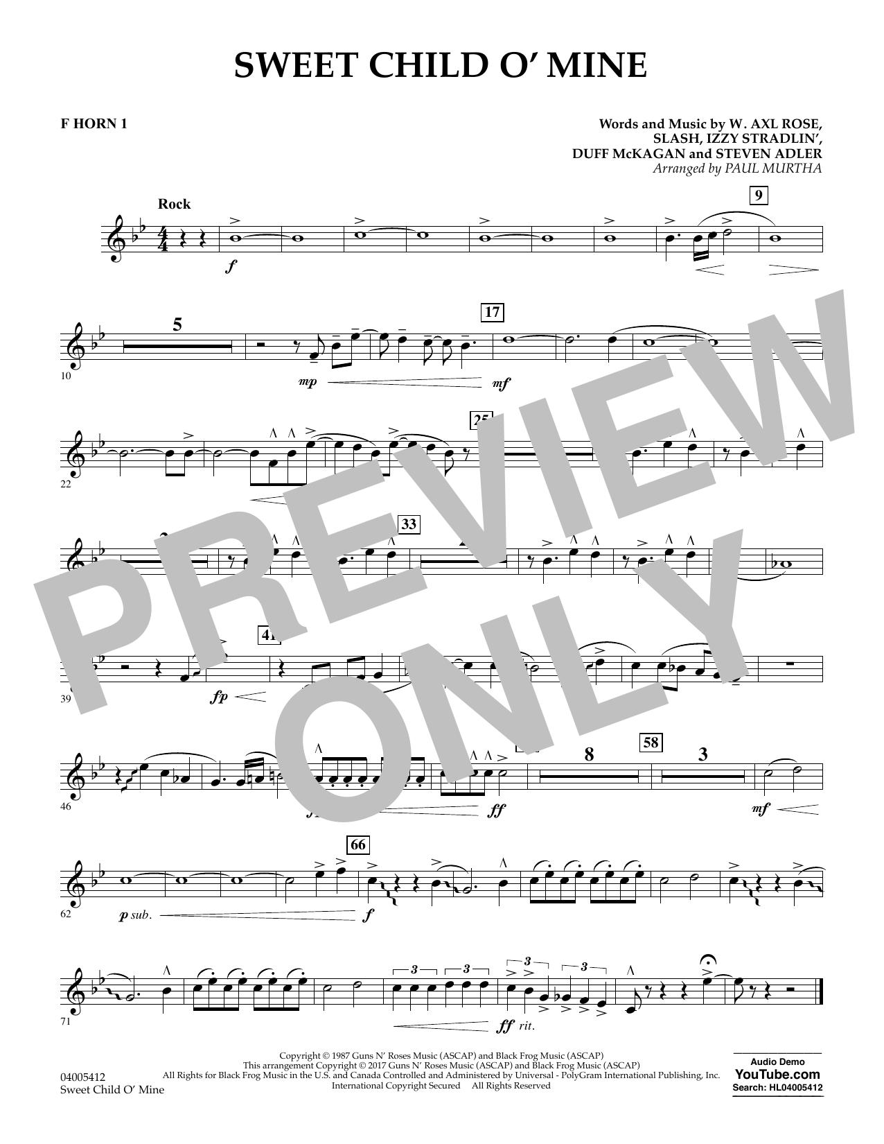 Sweet Child o' Mine - F Horn 1 (Concert Band)