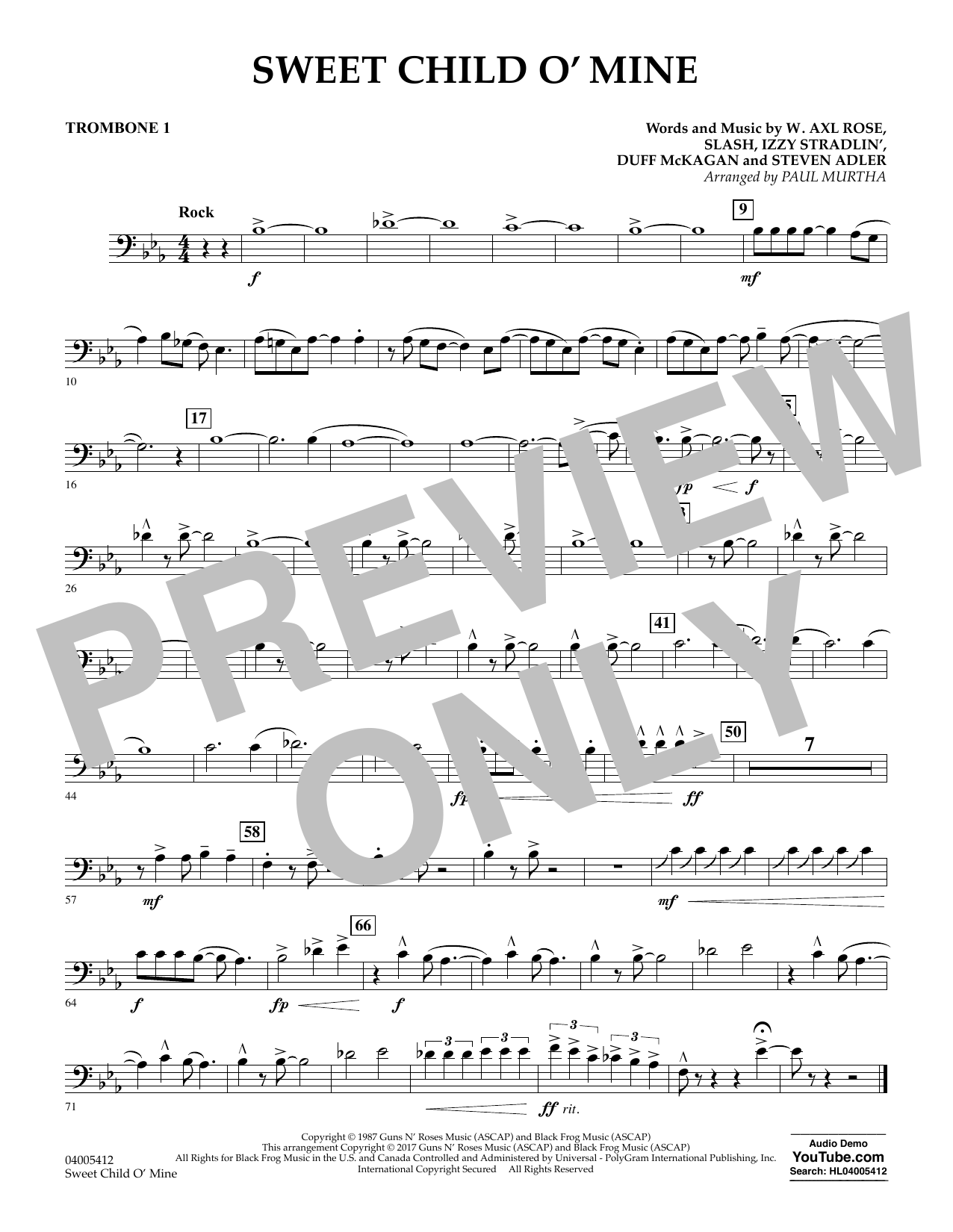 Sweet Child o' Mine - Trombone 1 (Concert Band)