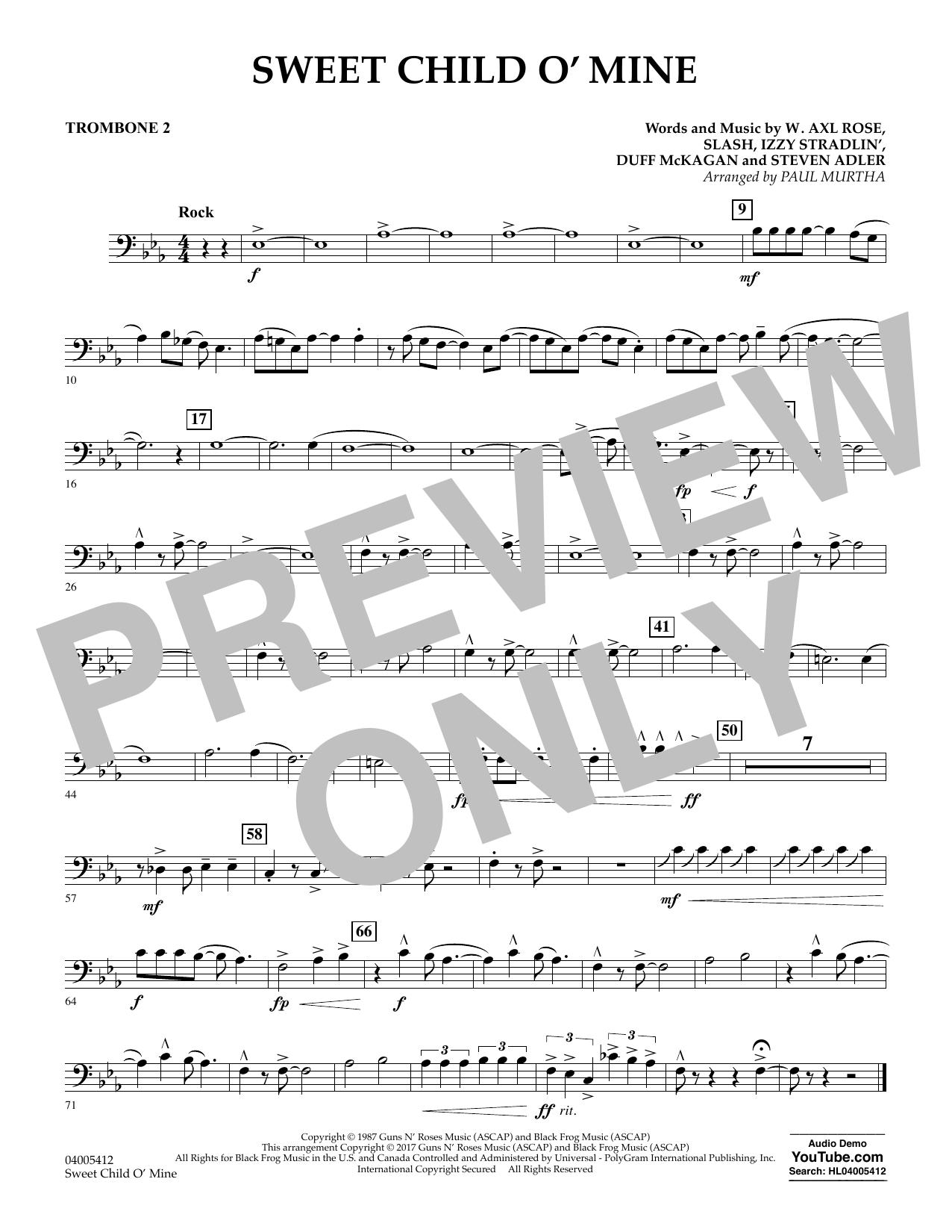 Sweet Child o' Mine - Trombone 2 (Concert Band)
