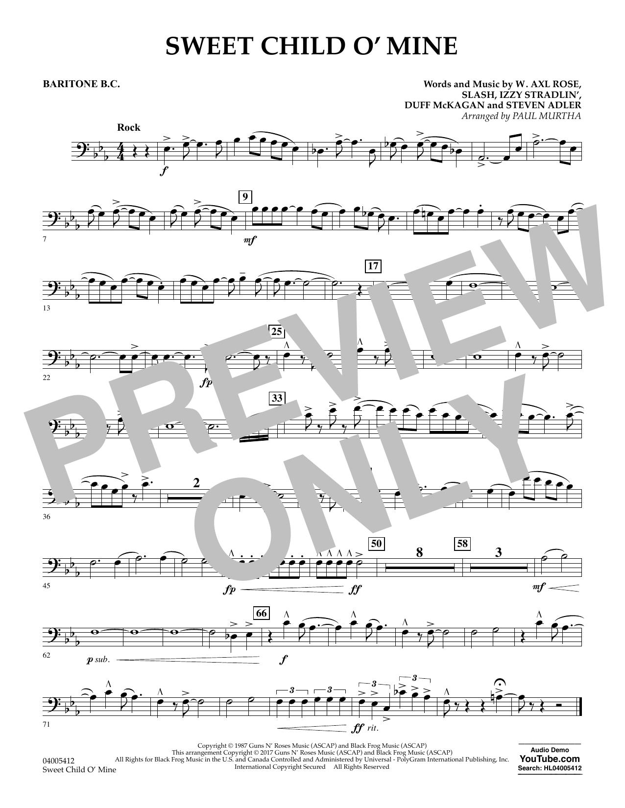 Sweet Child o' Mine - Baritone B.C. (Concert Band)