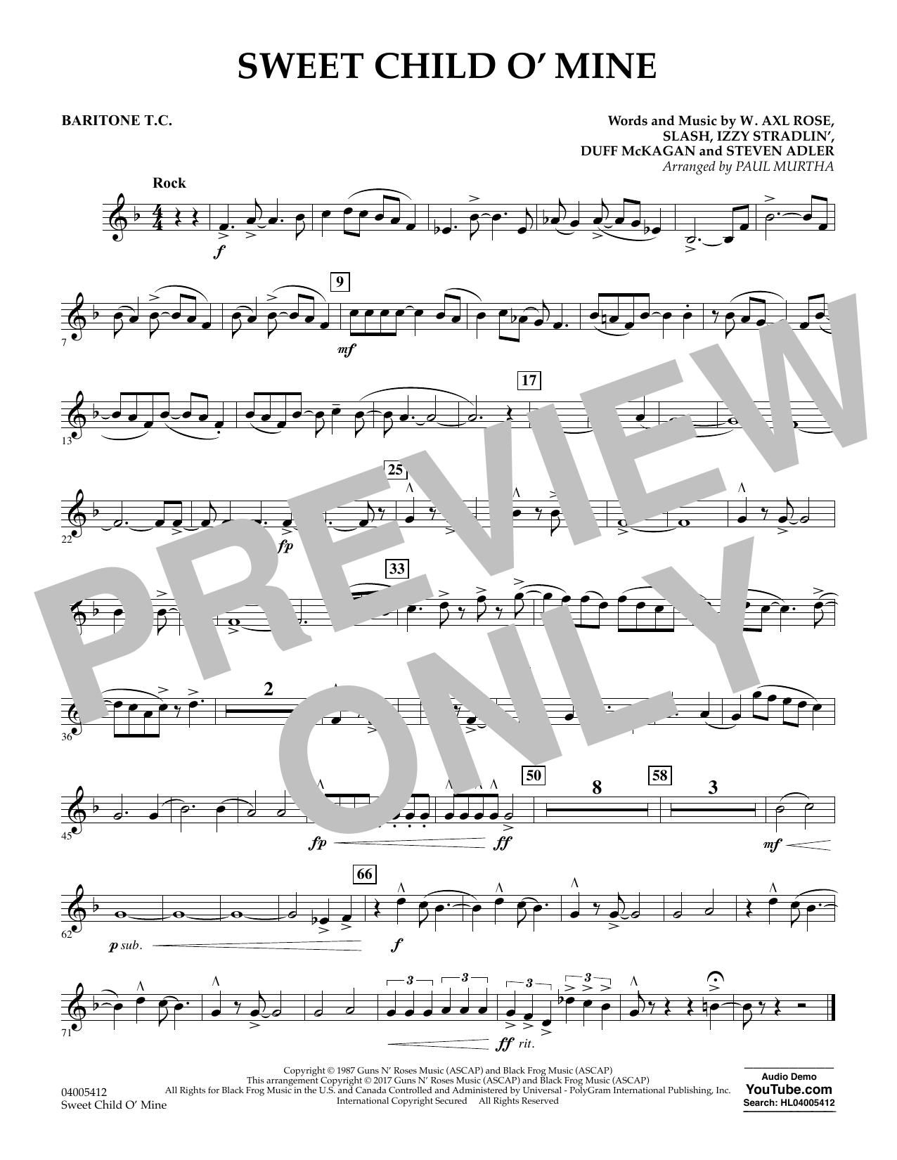 Sweet Child o' Mine - Baritone T.C. (Concert Band)