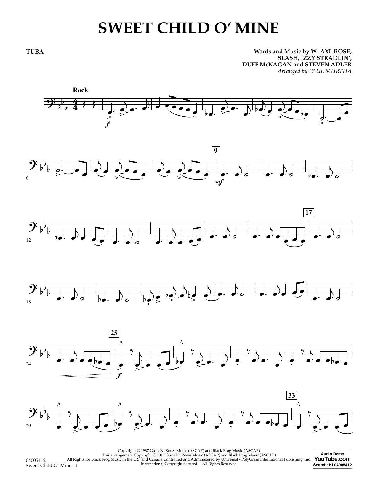 Sweet Child o' Mine - Tuba (Concert Band)