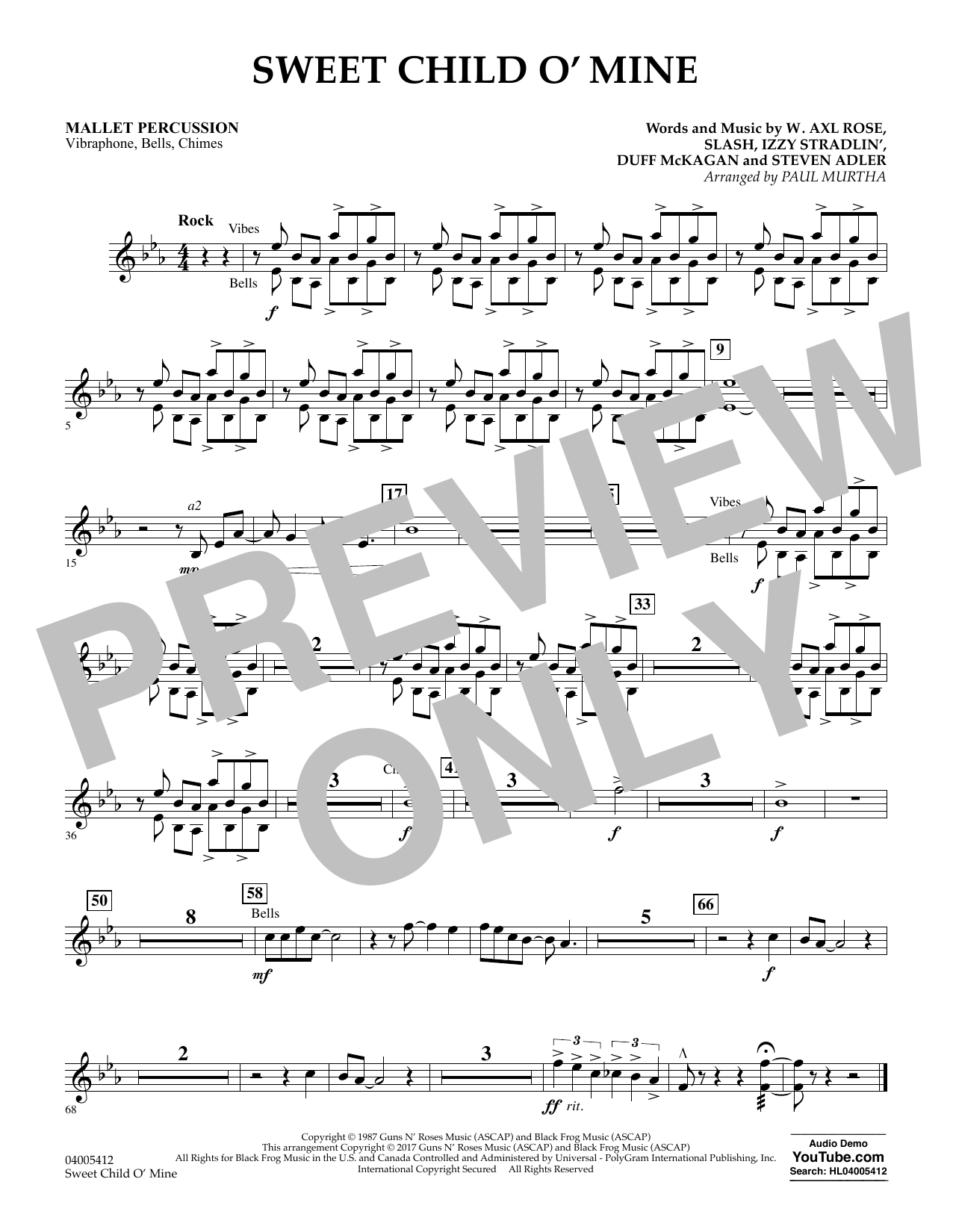 Sweet Child o' Mine - Mallet Percussion (Concert Band)