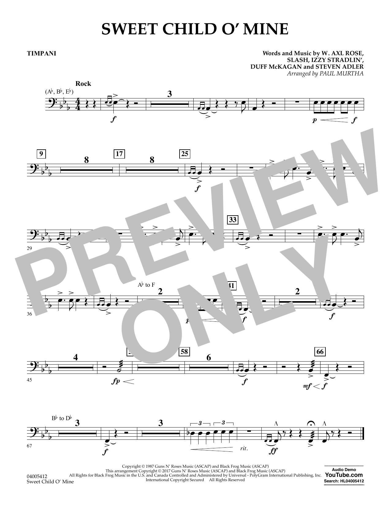 Sweet Child o' Mine - Timpani (Concert Band)