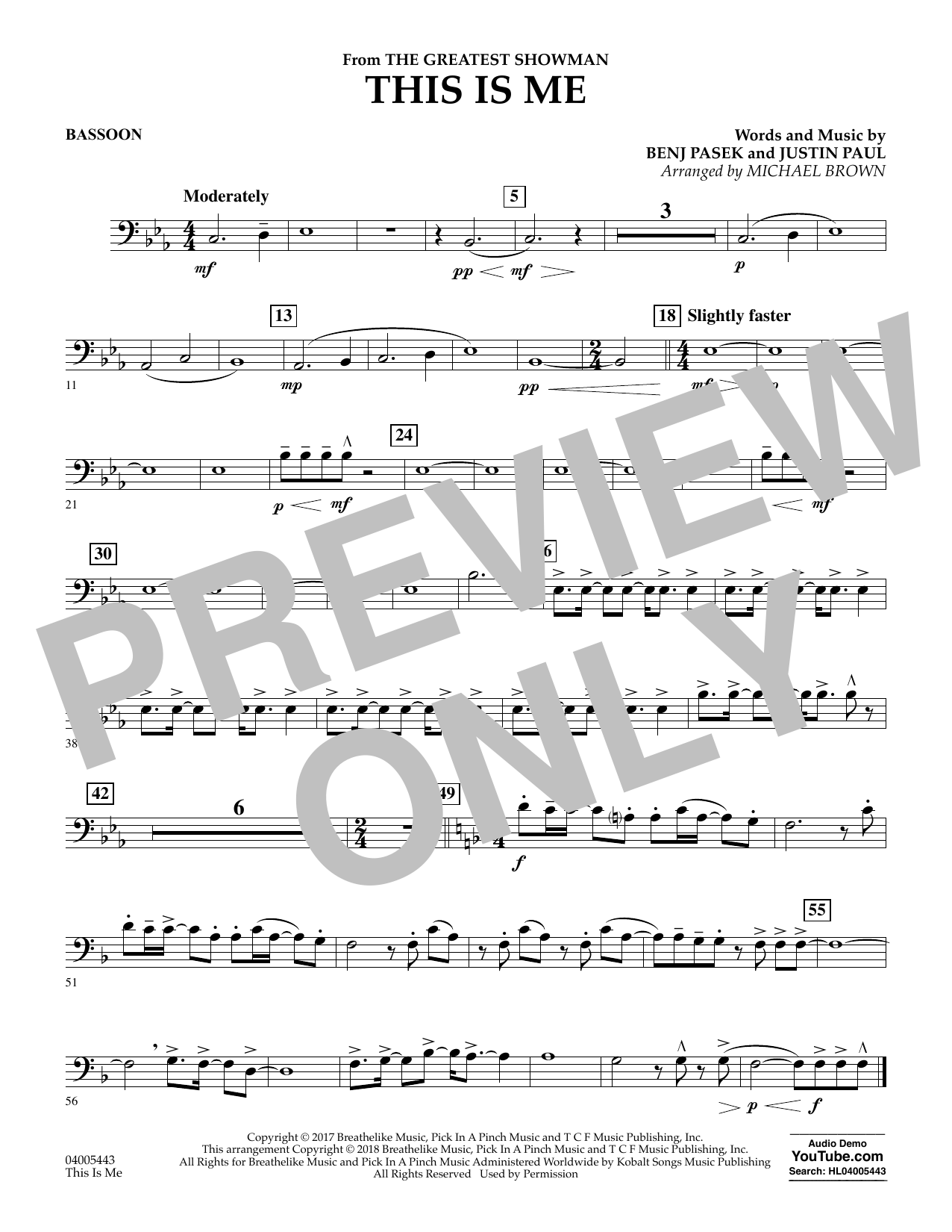 This Is Me (from The Greatest Showman) (arr. Michael Brown) - Bassoon (Concert Band)