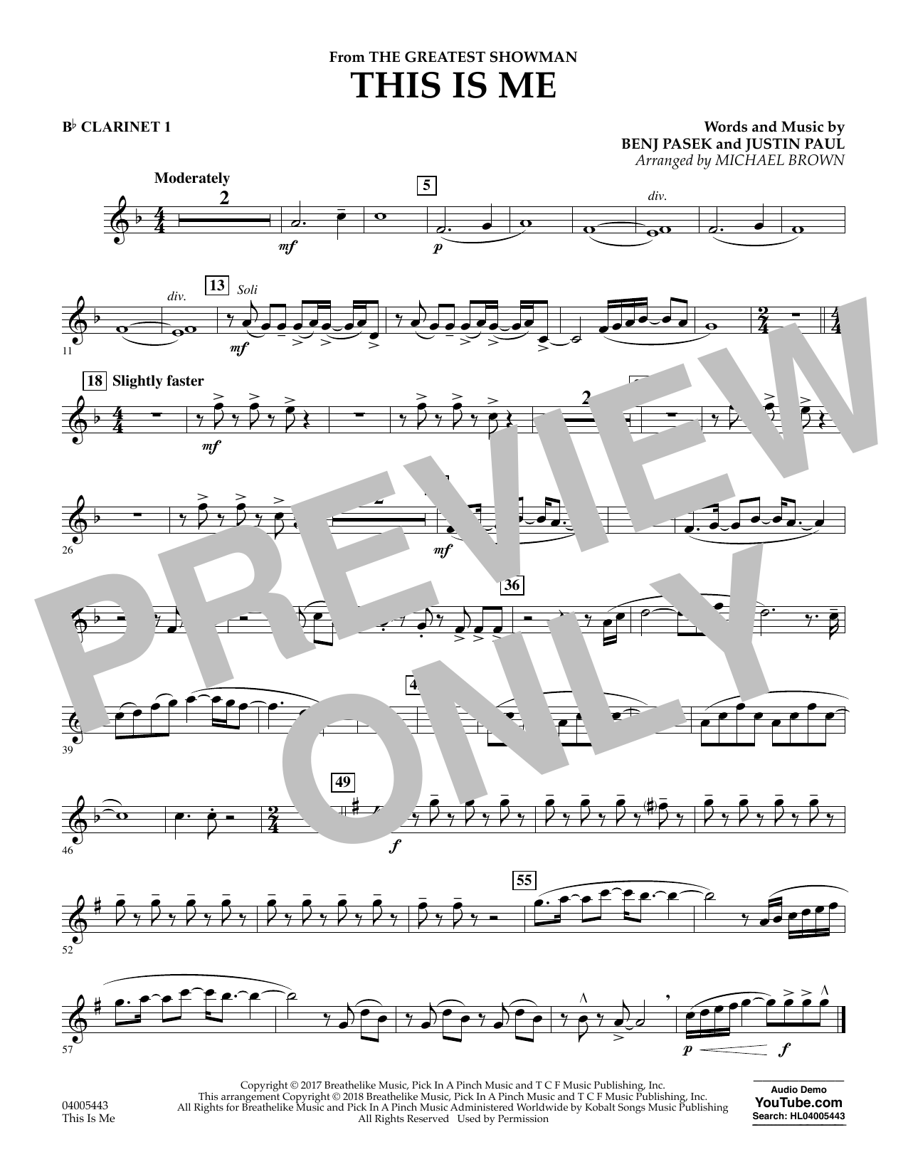 This Is Me (from The Greatest Showman) - Bb Clarinet 1 (Concert Band)