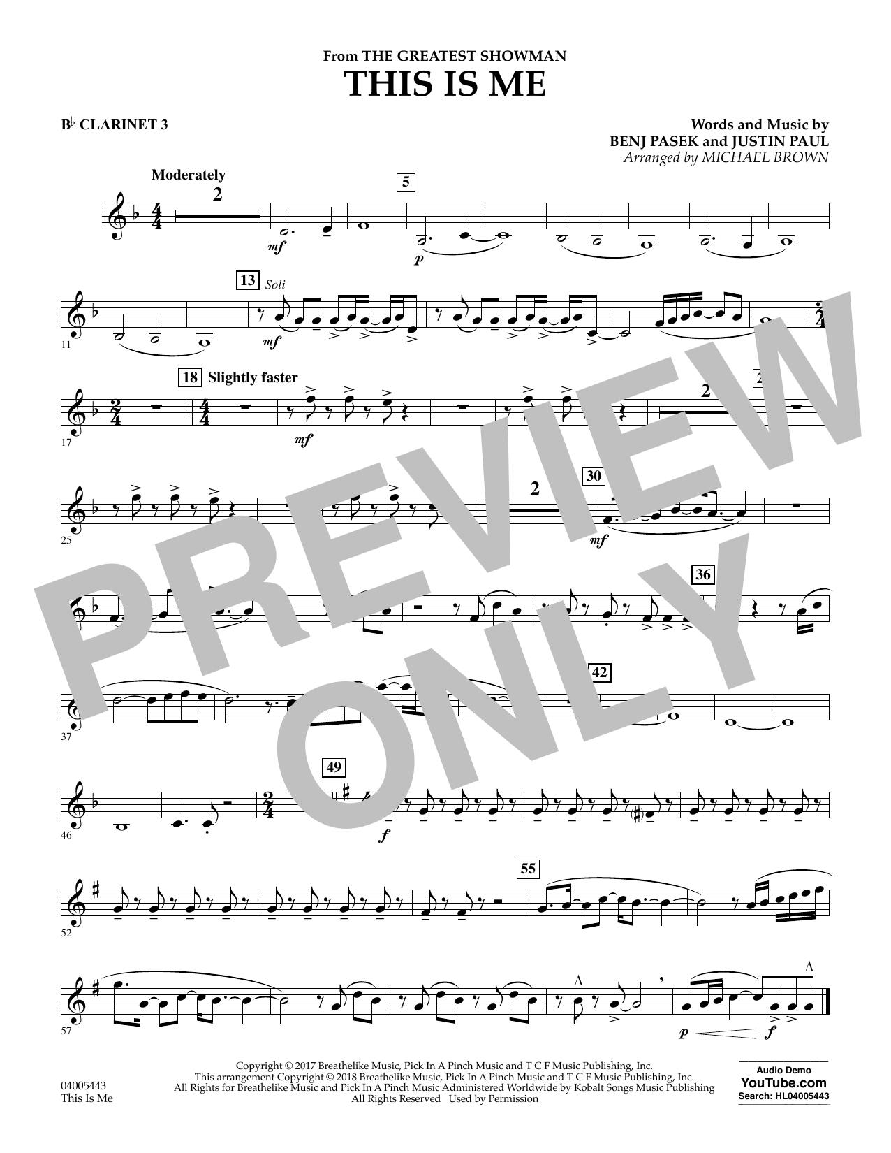 This Is Me (from The Greatest Showman) - Bb Clarinet 3 (Concert Band)