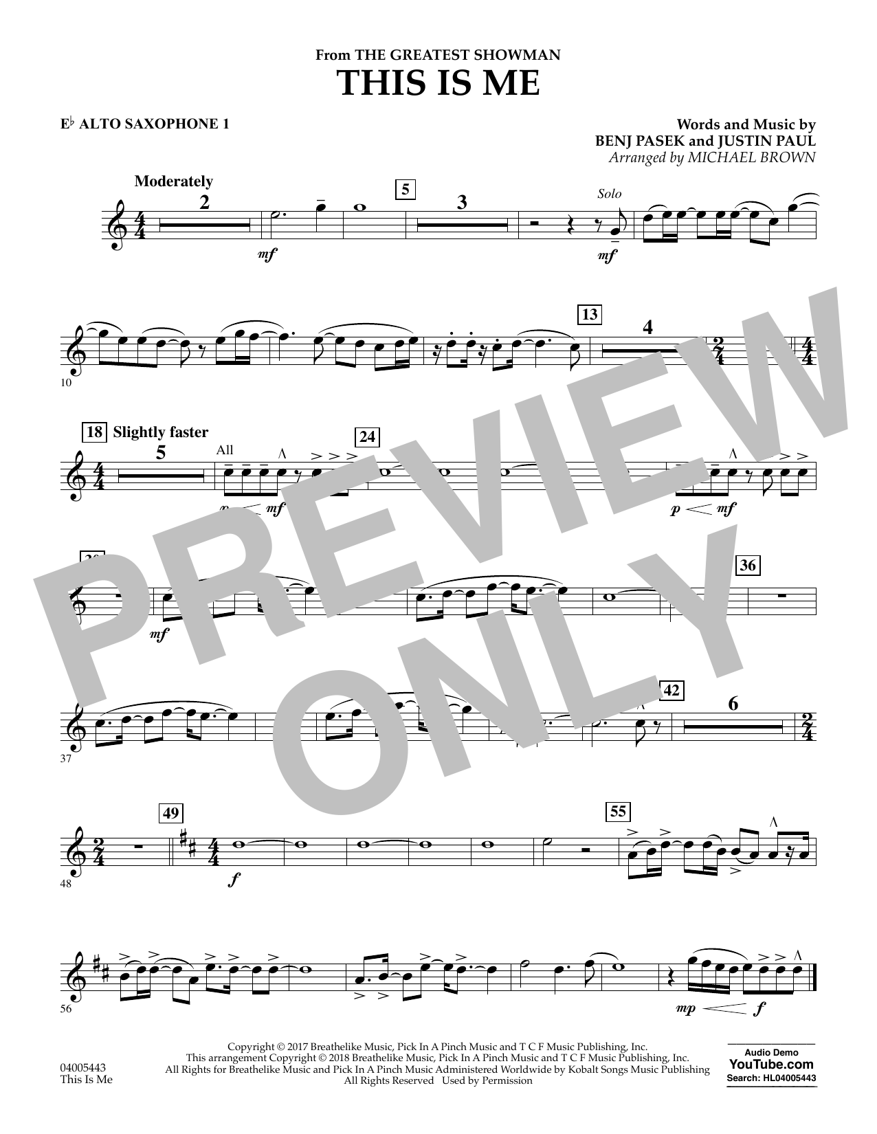 This Is Me (from The Greatest Showman) - Eb Alto Saxophone 1 (Concert Band)