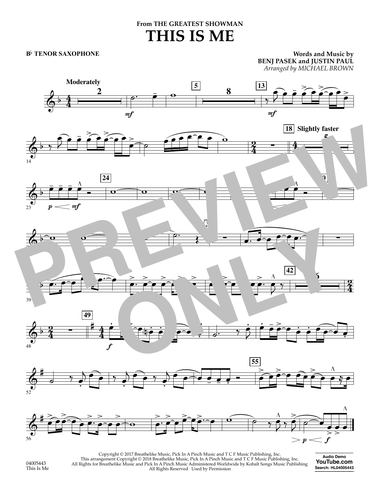 This Is Me (from The Greatest Showman) - Bb Tenor Saxophone (Concert Band)