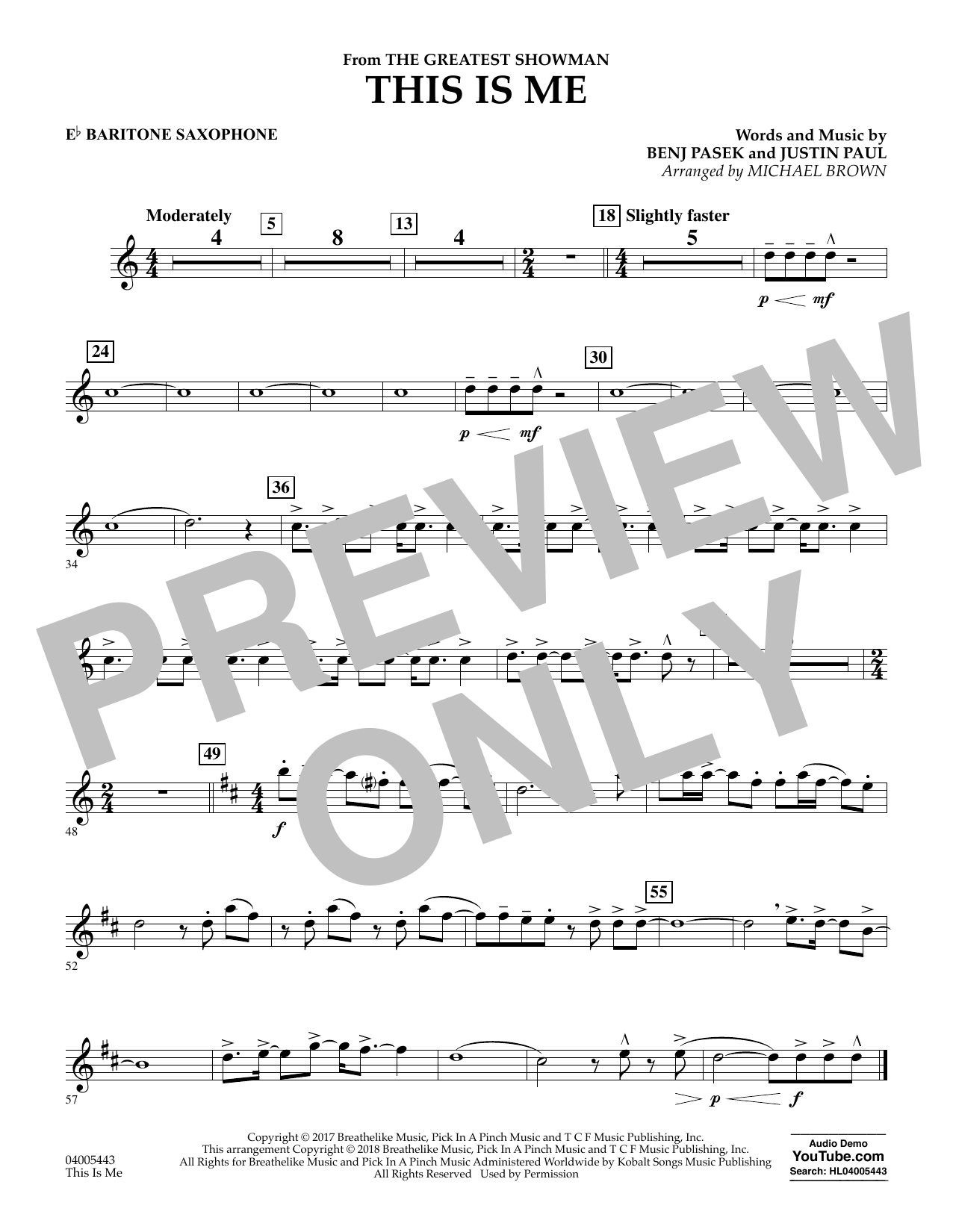 This Is Me (from The Greatest Showman) (arr. Michael Brown) - Eb Baritone Saxophone (Concert Band)