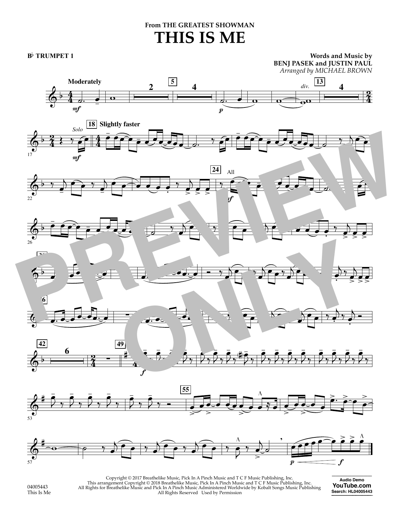 This Is Me (from The Greatest Showman) - Bb Trumpet 1 (Concert Band)