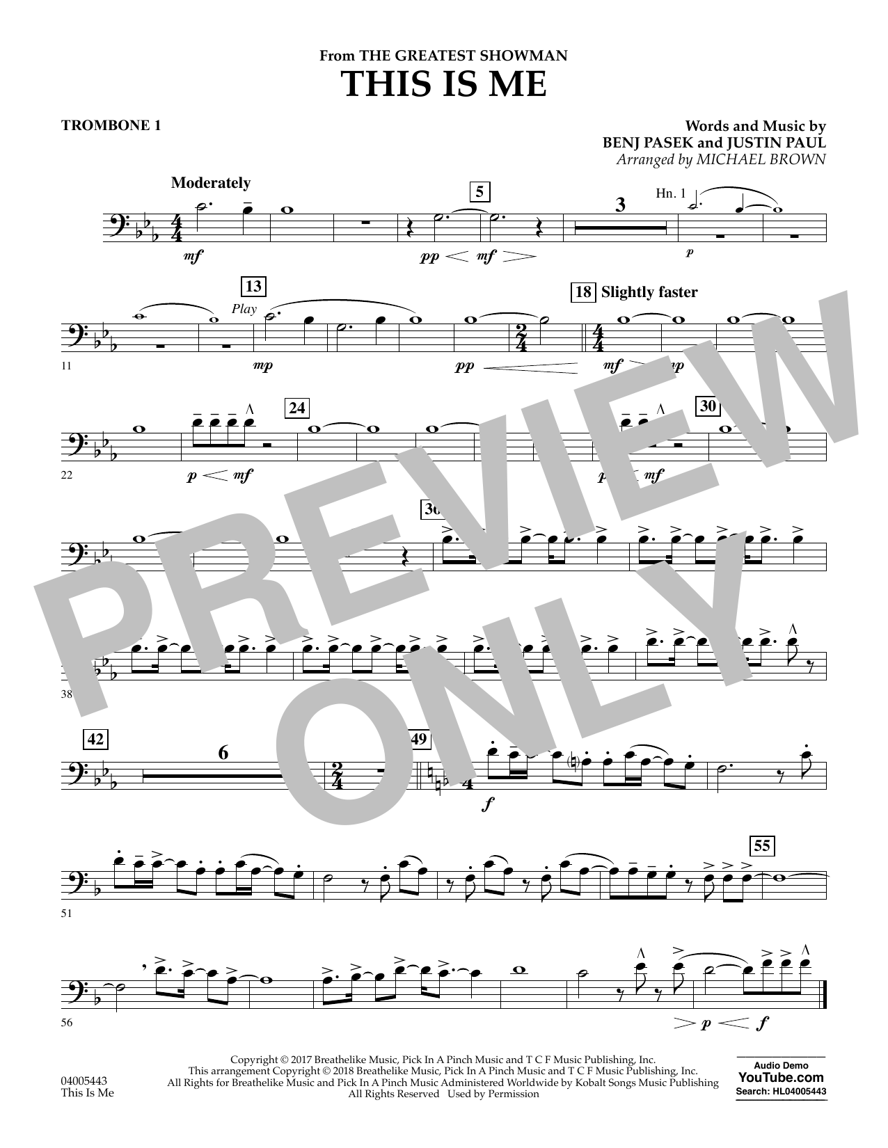 This Is Me (from The Greatest Showman) - Trombone 1 (Concert Band)