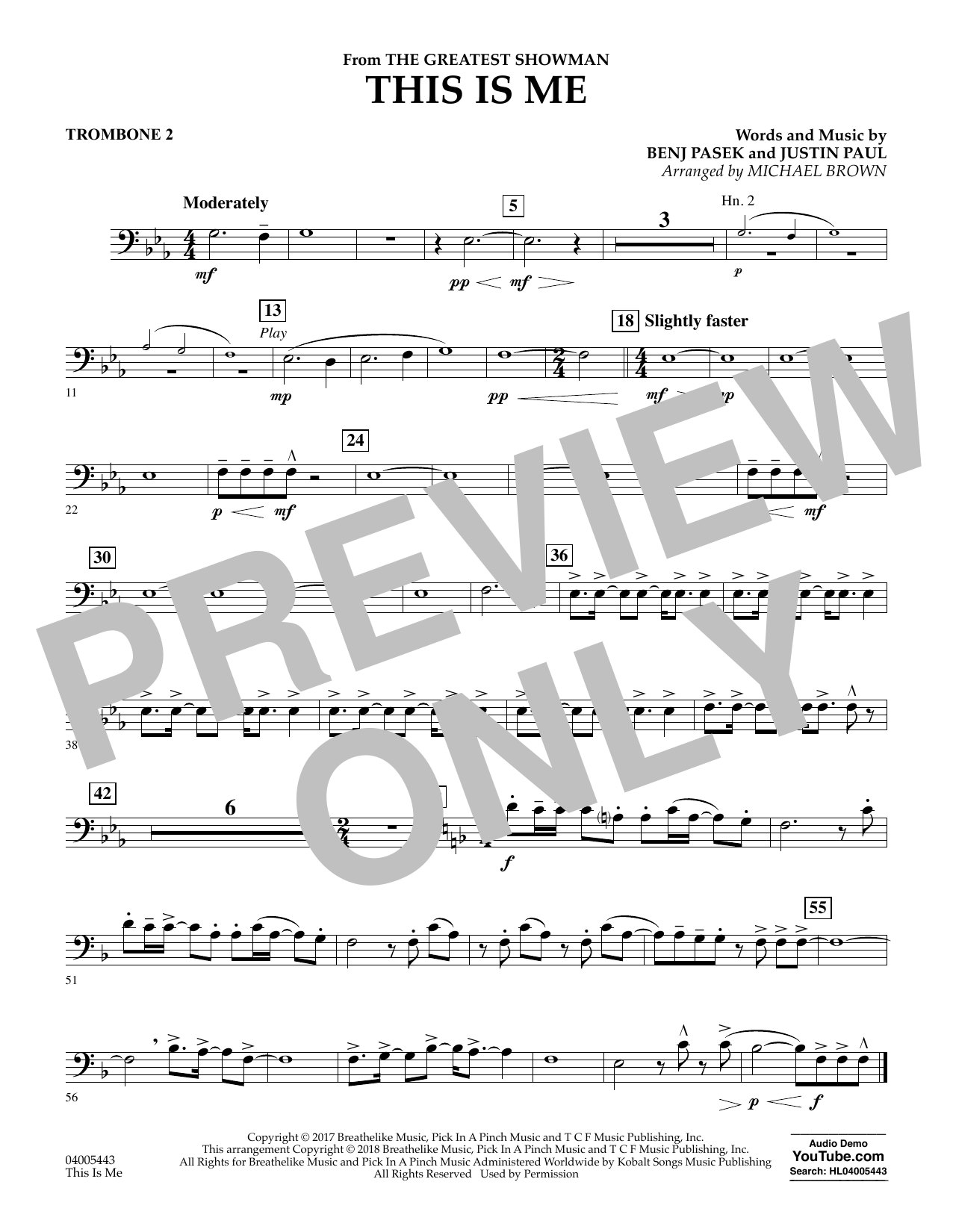 This Is Me (from The Greatest Showman) - Trombone 2 (Concert Band)