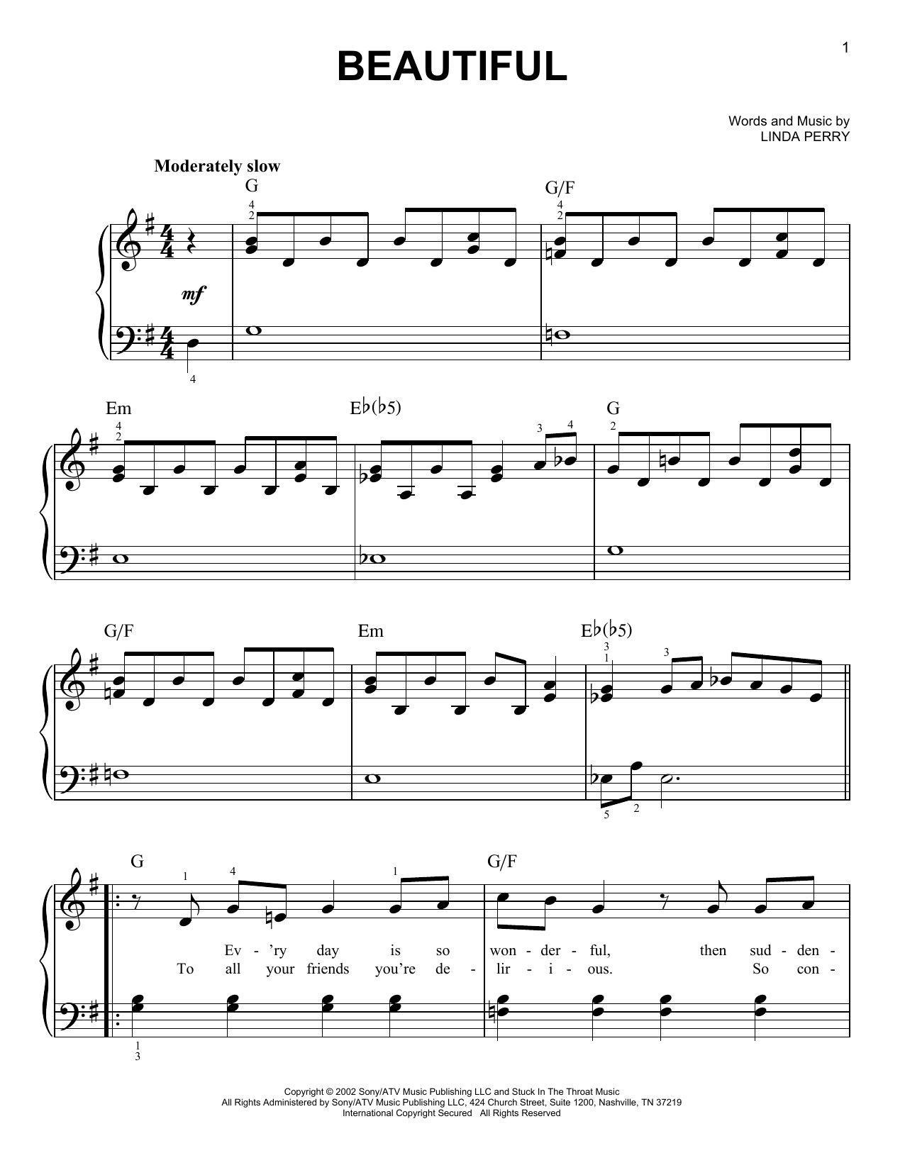 Beautiful (Very Easy Piano)