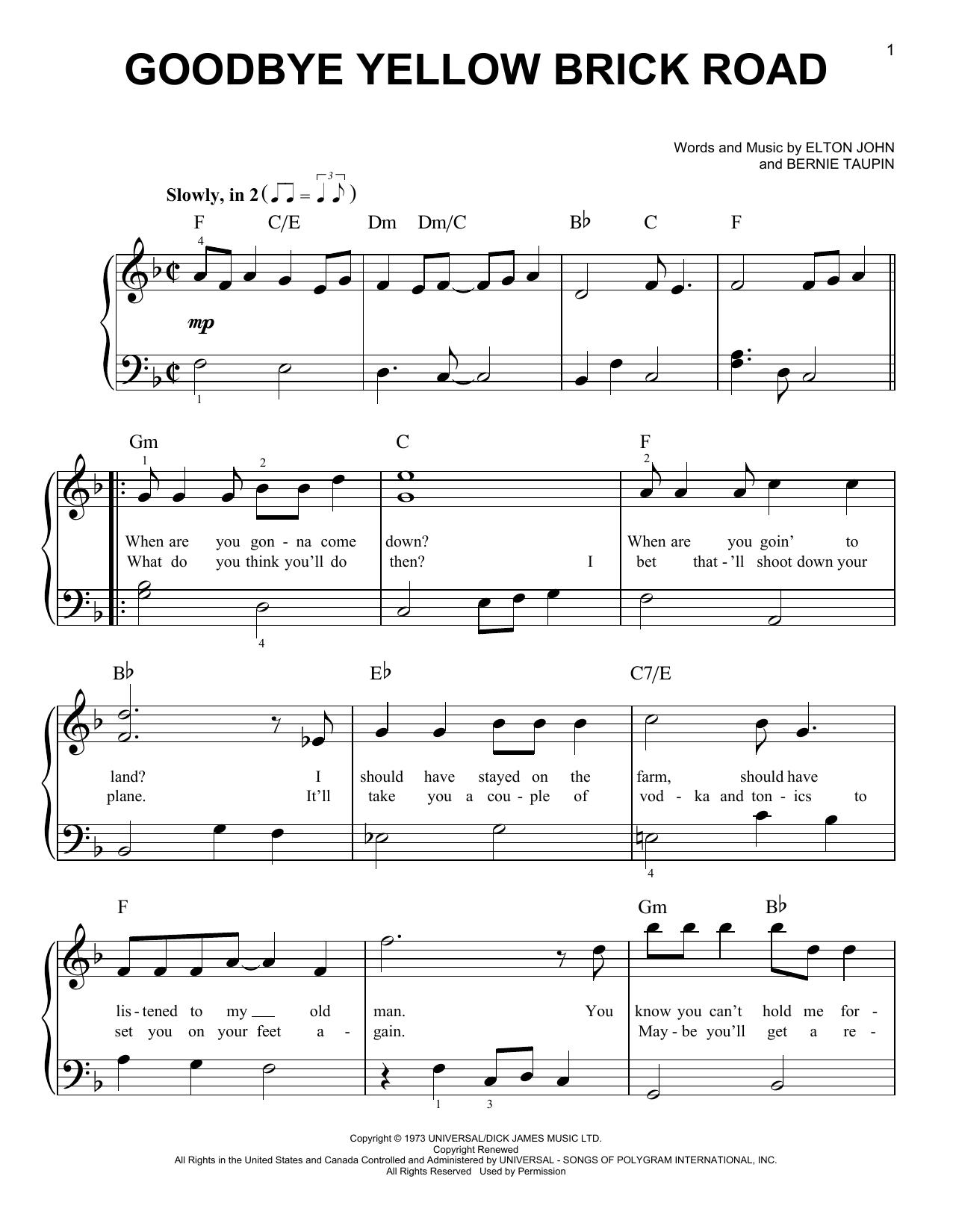 Goodbye Yellow Brick Road (Very Easy Piano)