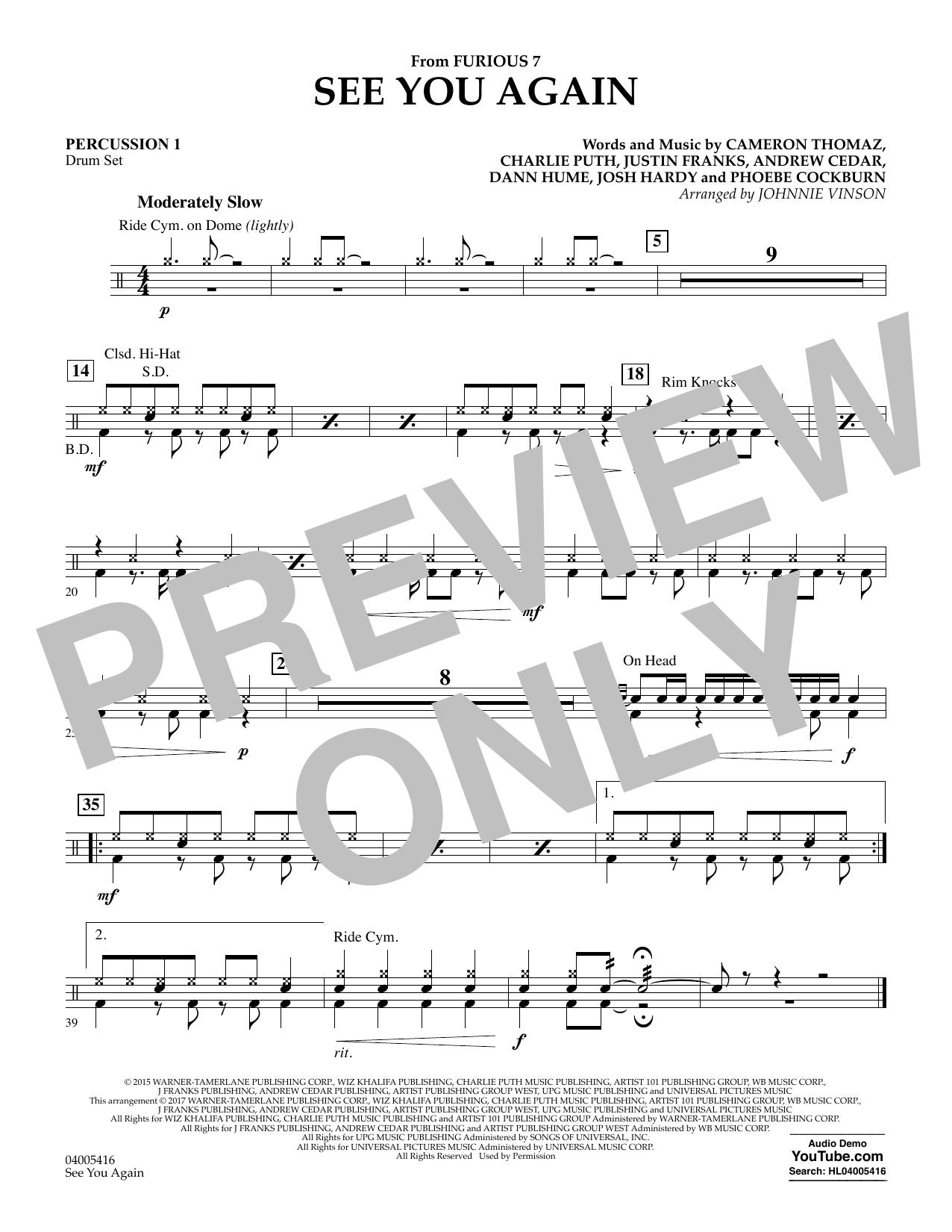 See You Again - Percussion 1 Sheet Music   Johnnie Vinson