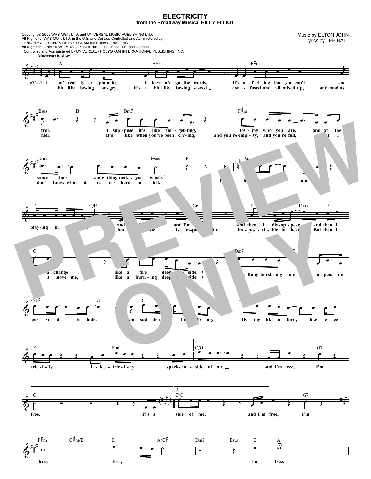 Electricity (Lead Sheet / Fake Book)