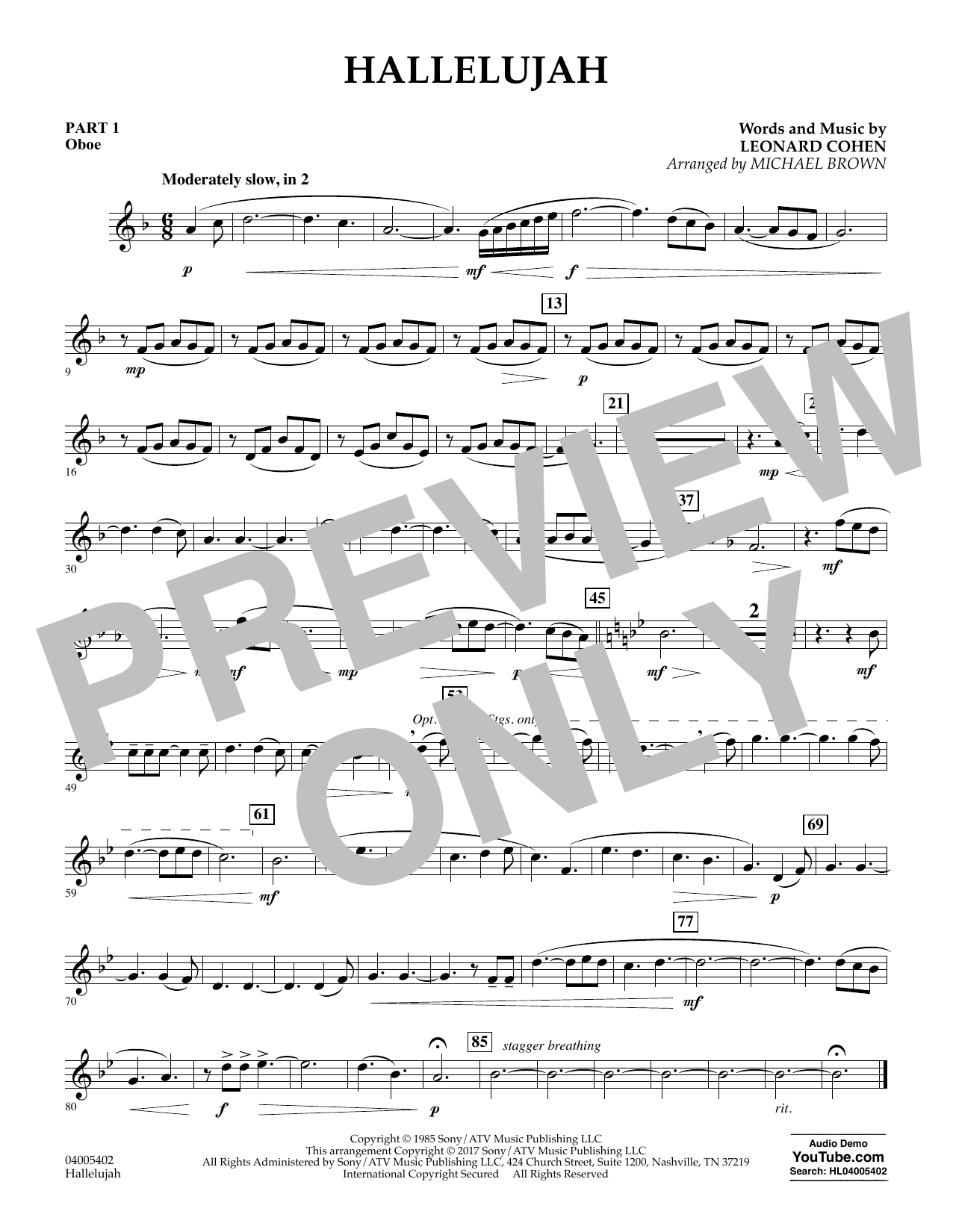 Hallelujah - Pt.1 - Oboe Sheet Music