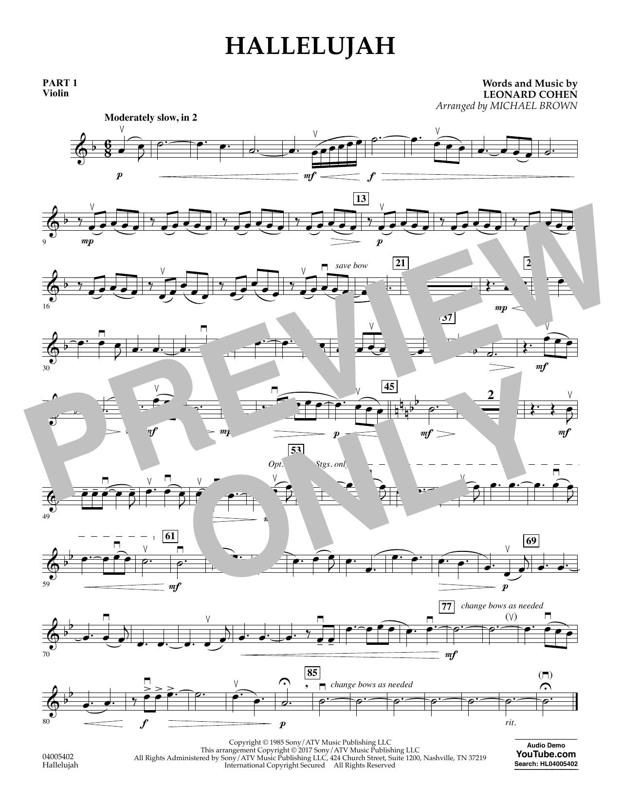 Hallelujah - Pt.1 - Violin (Concert Band: Flex-Band)