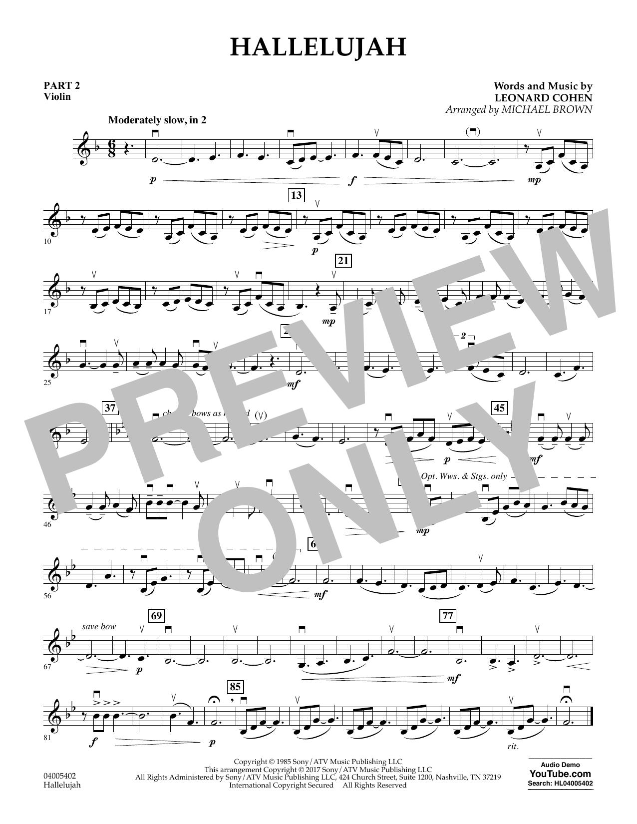 Hallelujah - Pt.2 - Violin (Concert Band: Flex-Band)