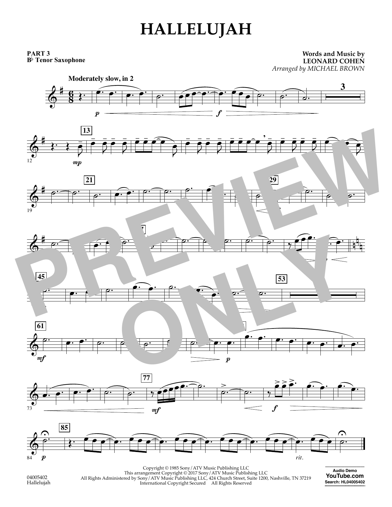 Hallelujah - Pt.3 - Bb Tenor Saxophone (Flex-Band)