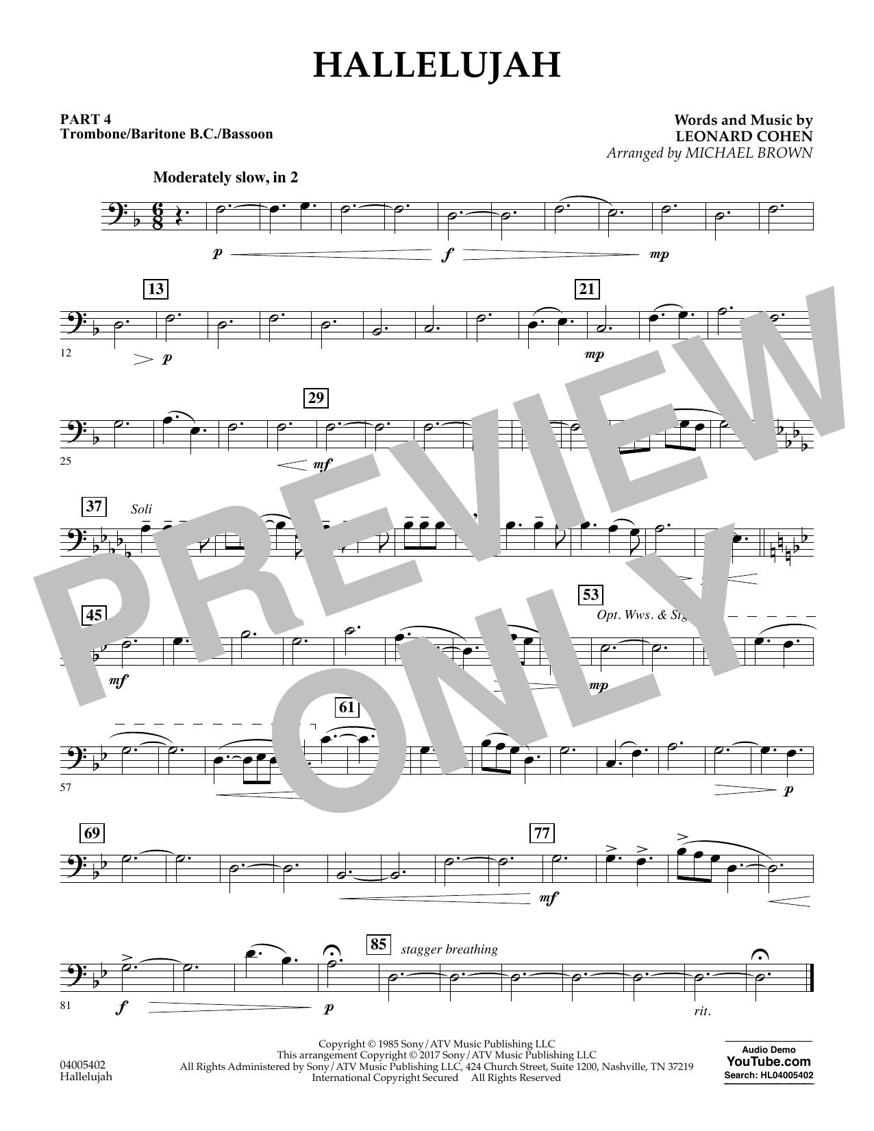 Hallelujah - Pt.4 - Trombone/Bar. B.C./Bsn. Sheet Music