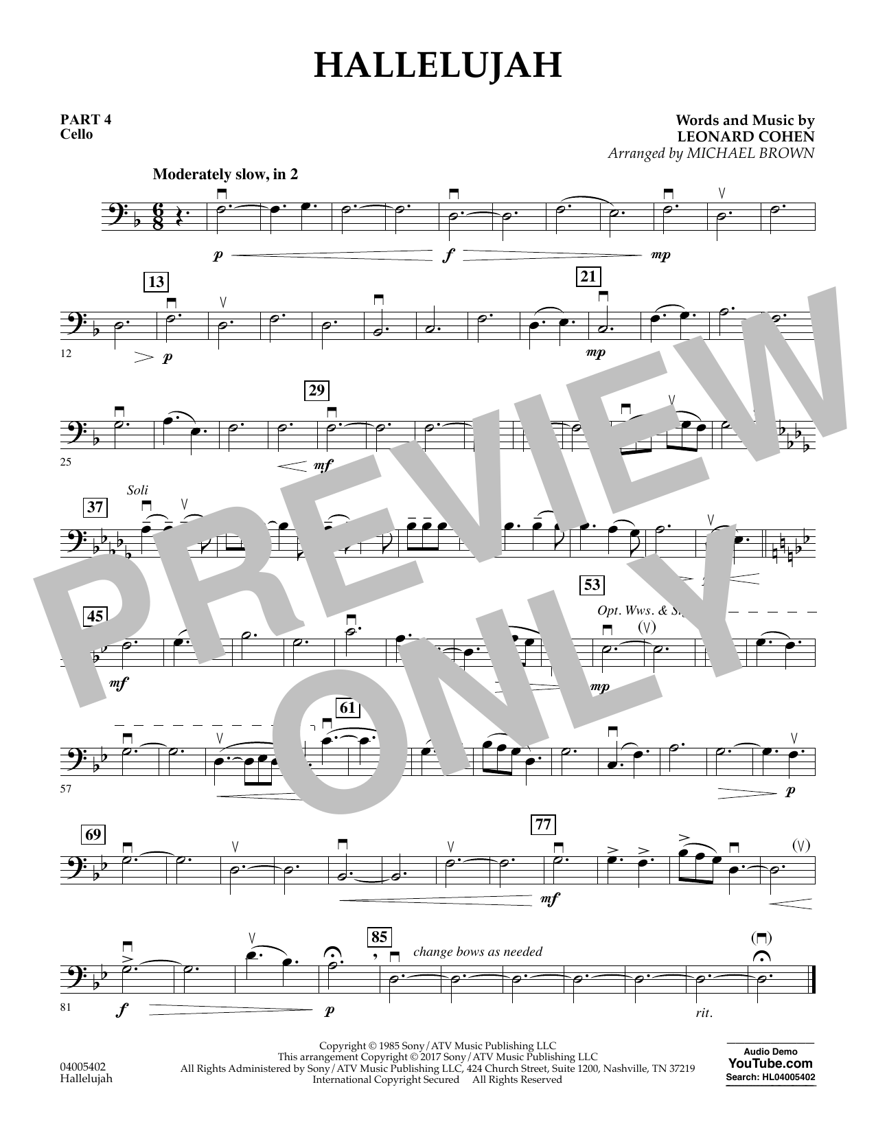 Hallelujah - Pt.4 - Cello (Flex-Band)