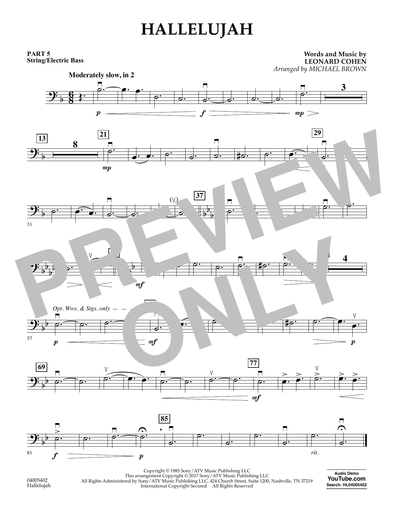 Hallelujah - Pt.5 - String/Electric Bass (Concert Band: Flex-Band)