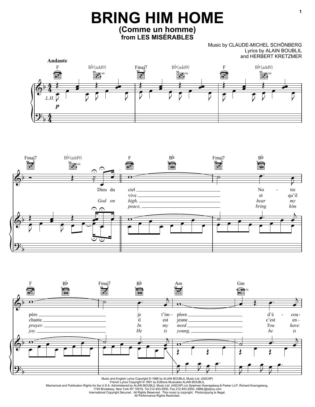 Bring Him Home (Piano, Vocal & Guitar (Right-Hand Melody))