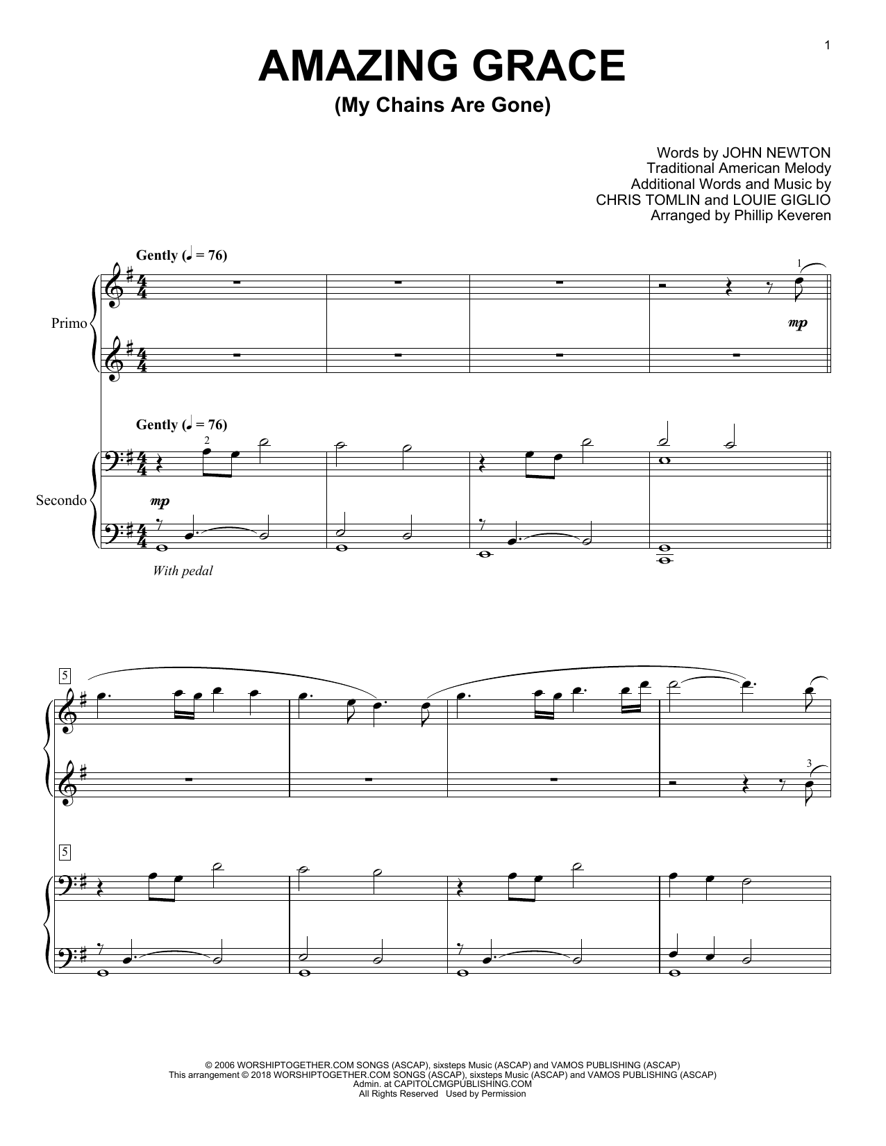 Amazing Grace My Chains Are Gone Print Sheet Music Now