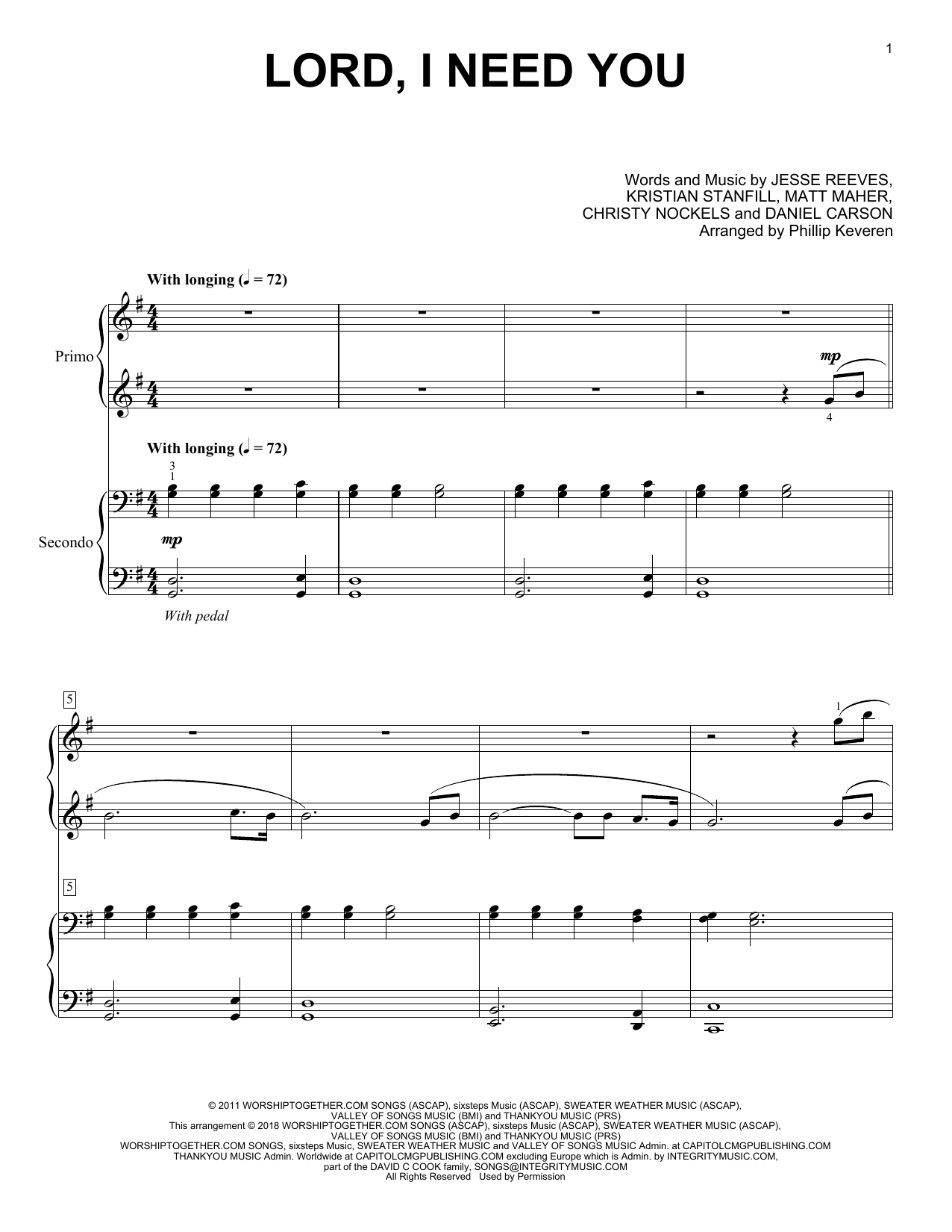 Lord, I Need You (Piano Duet) - Print Sheet Music Now