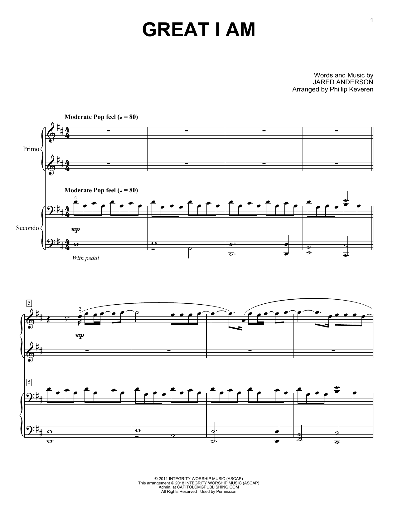 Great I Am (arr. Phillip Keveren) (Piano Duet)